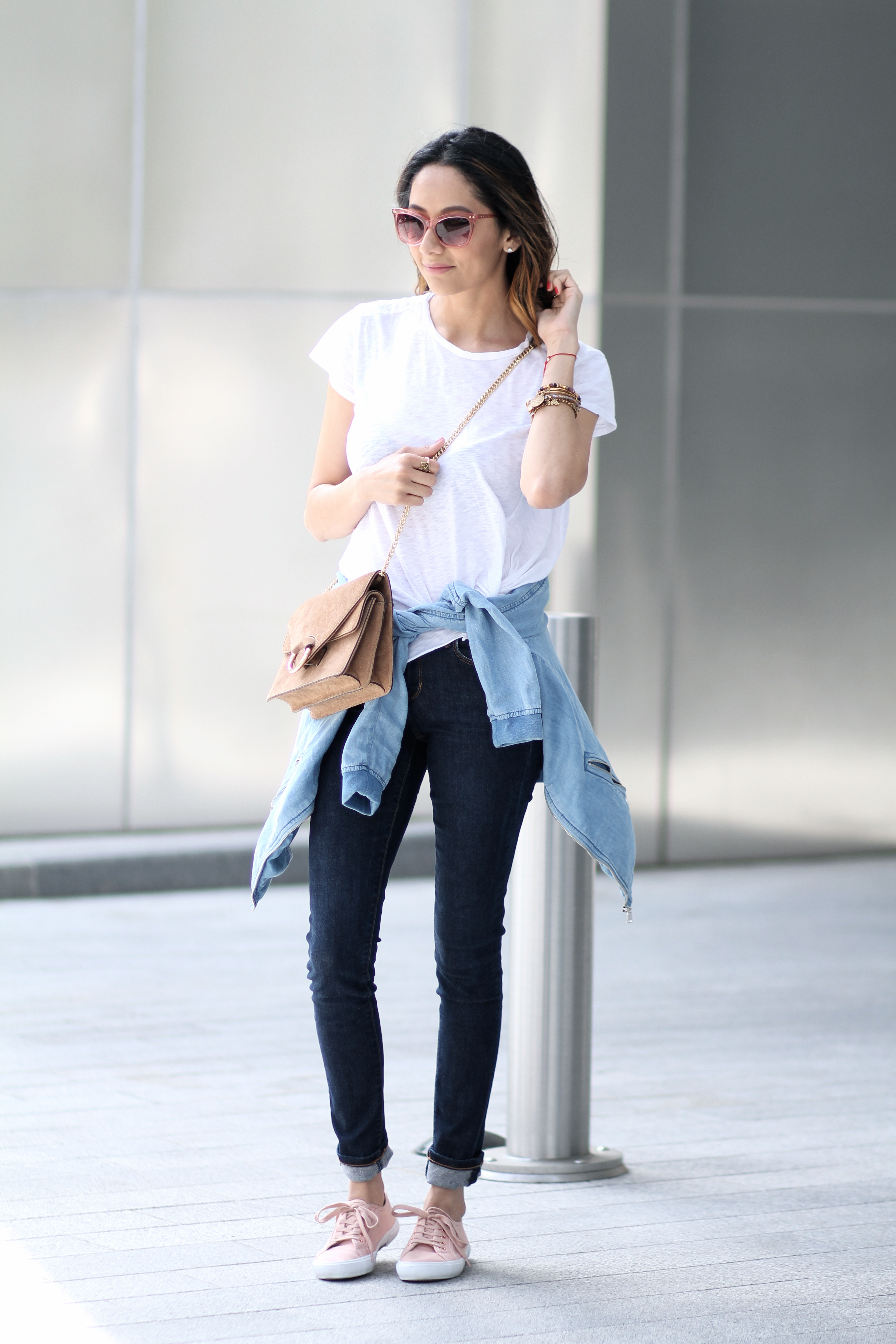 how to style the perfect casual Friday outfit with jeans and a white tee