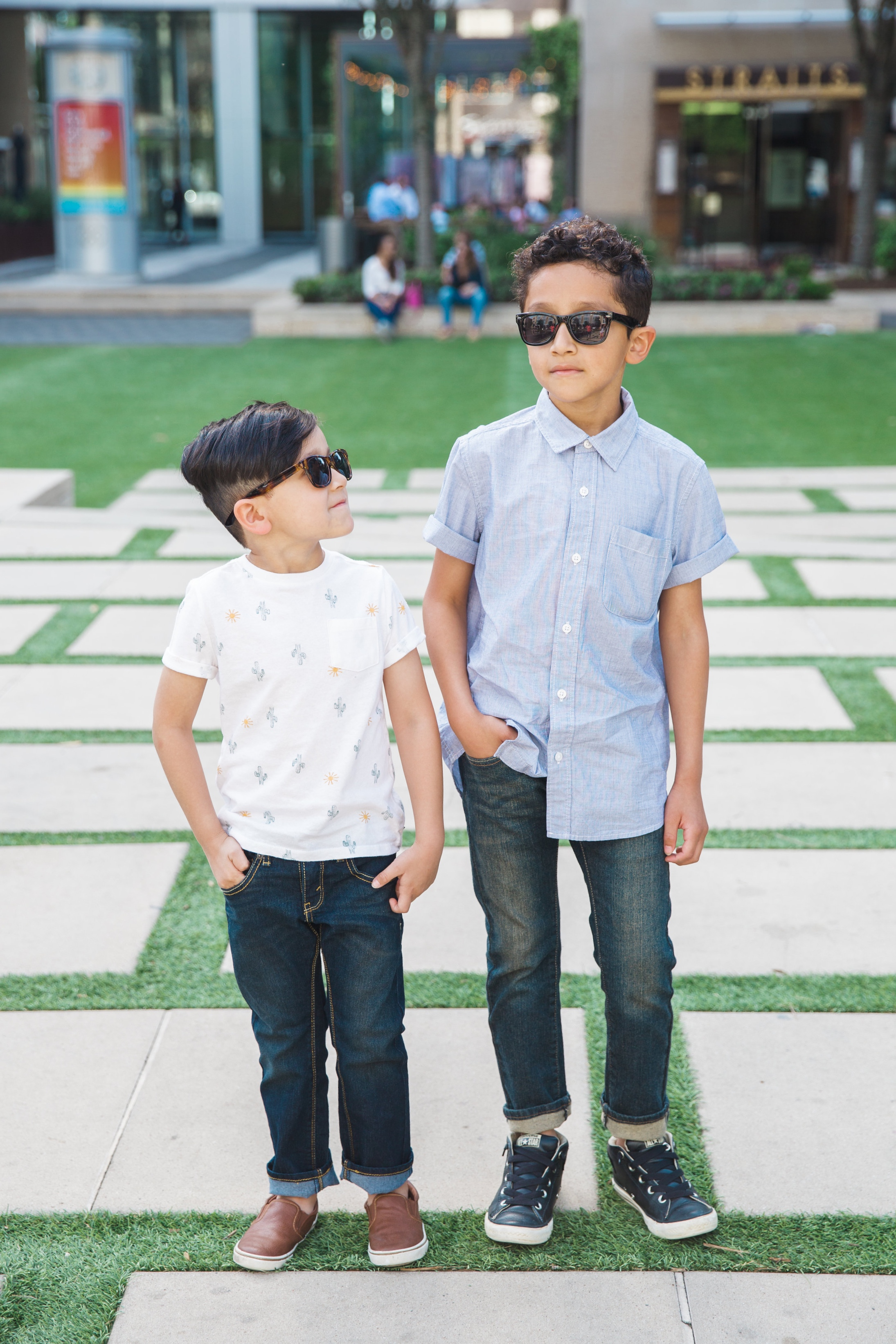 Evan & Mason Beltran of Daily Craving Blog in Denizen Denim