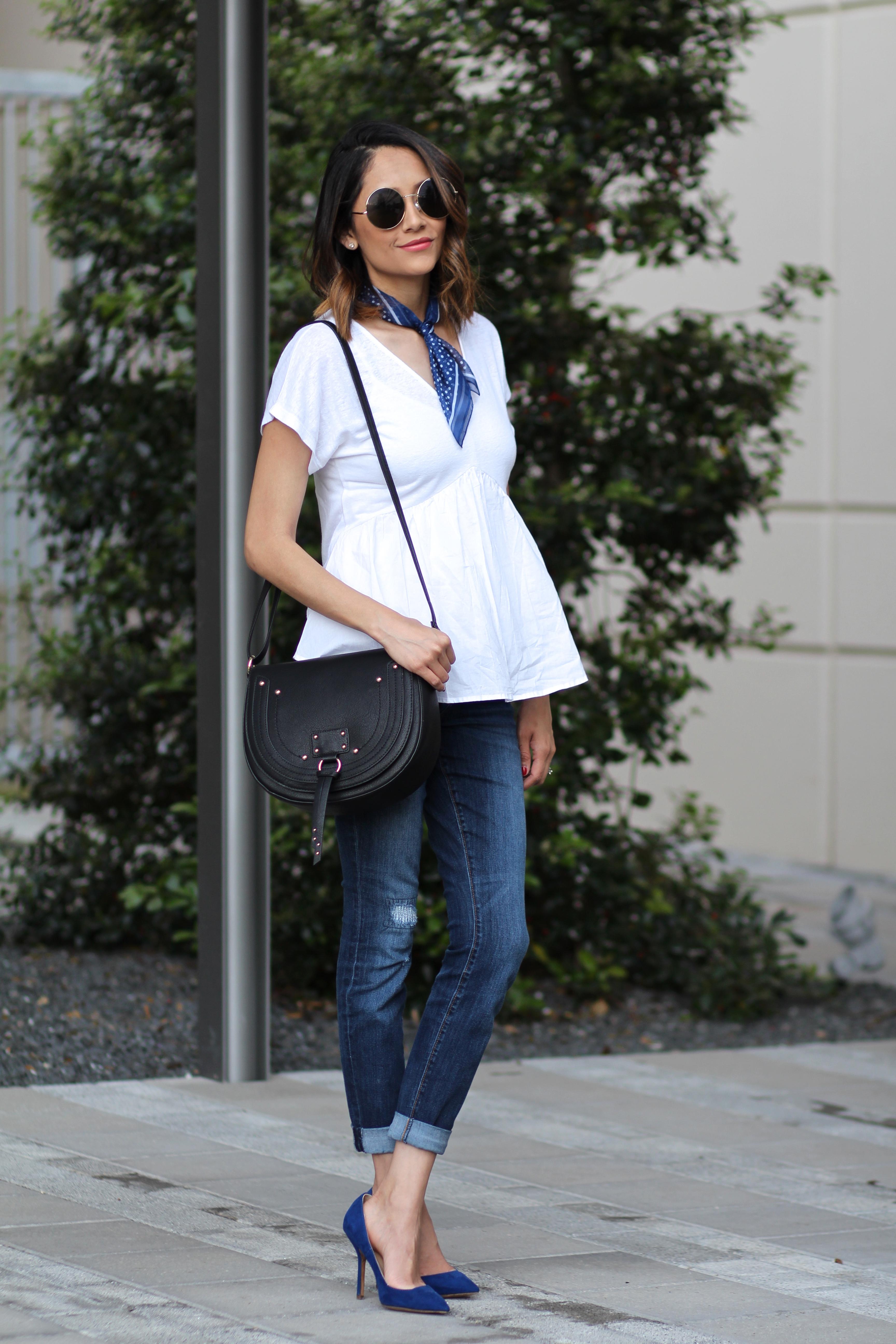 designer inspired handbag, blue pumps, blue neckerchief and flounce top