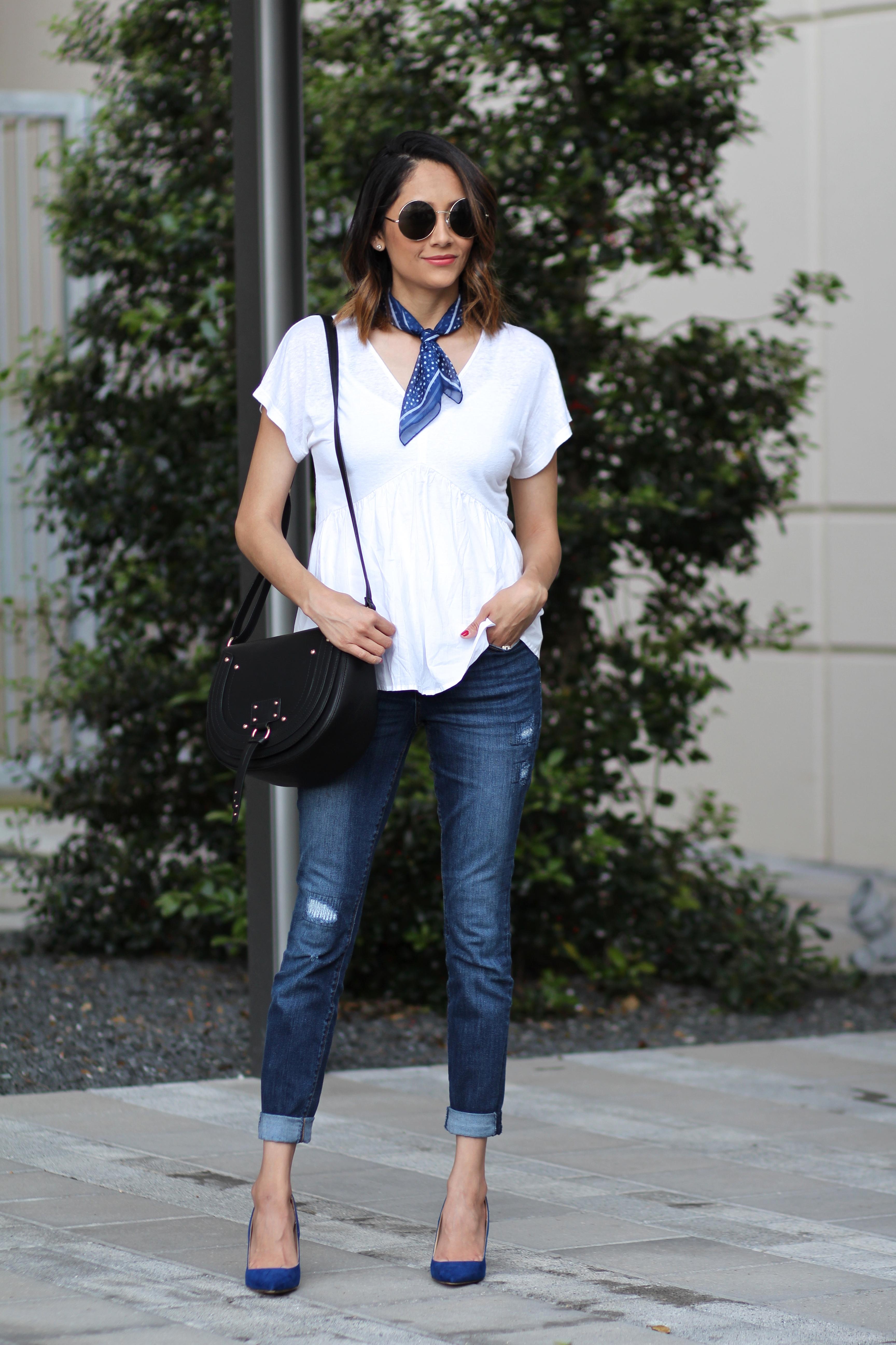 street chic spring look. designer inspired handbag & blue pumps