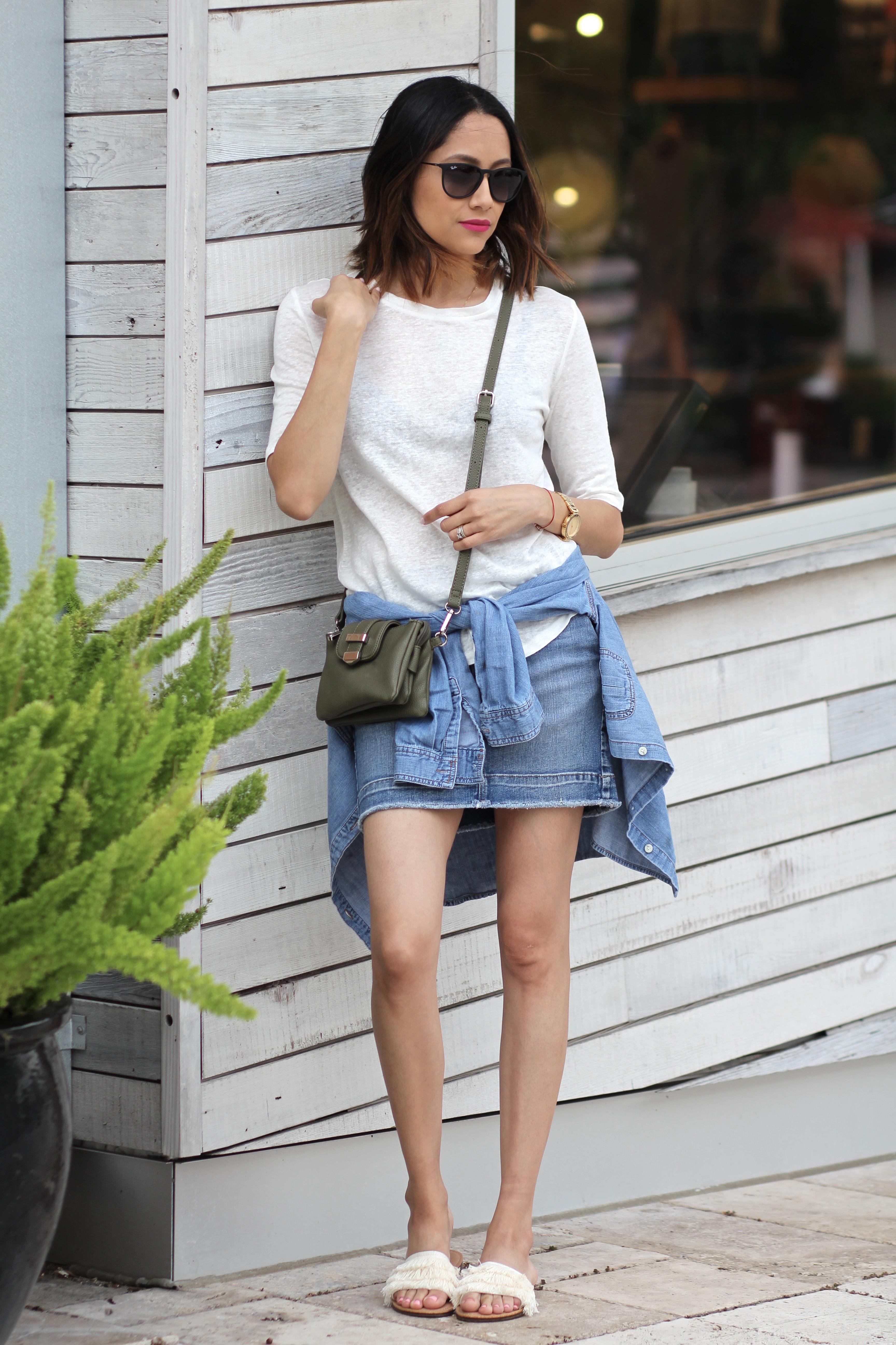 Off-duty look | Denim Skirt | Fringe Sandals