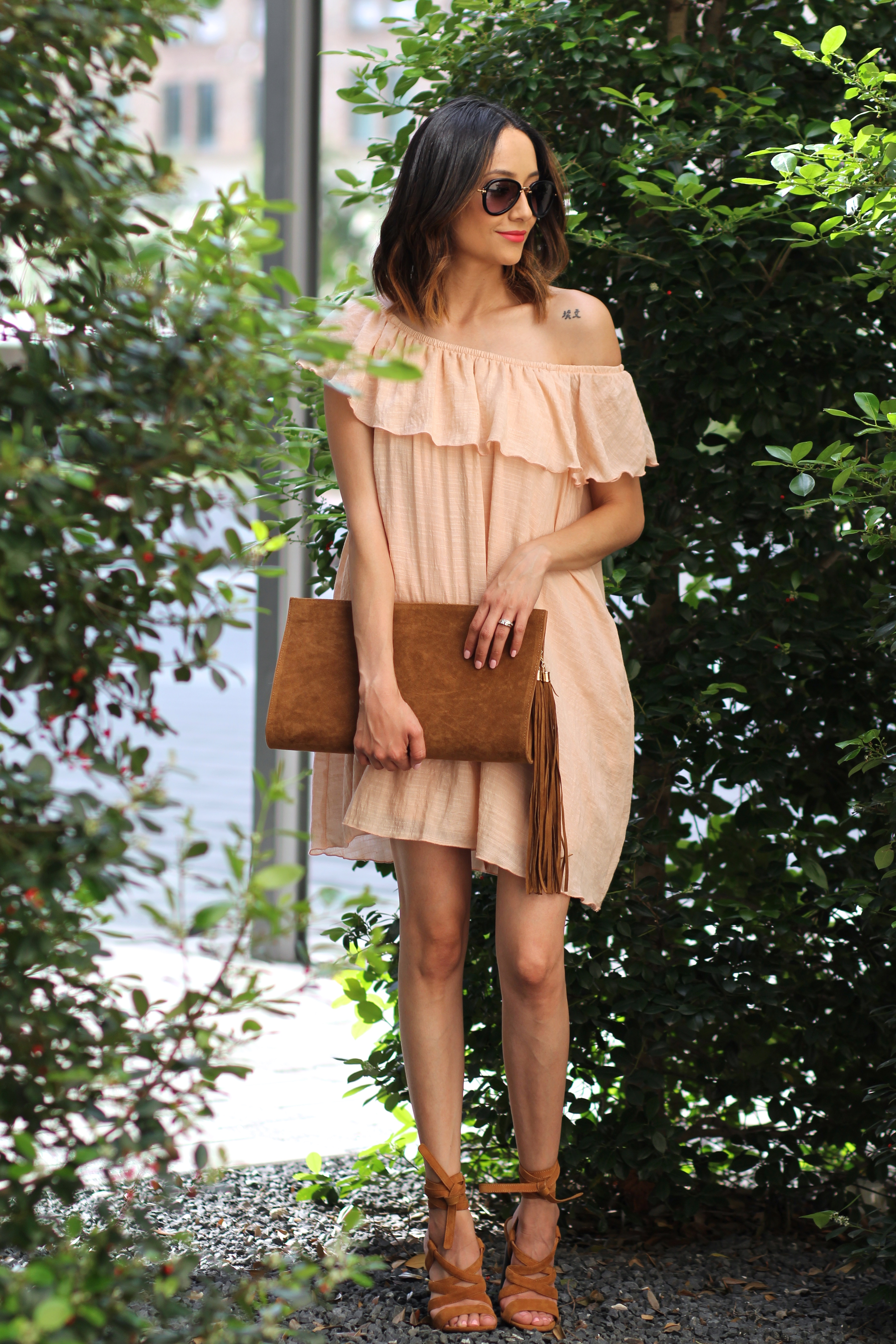 blush off the shoulder dress outfit