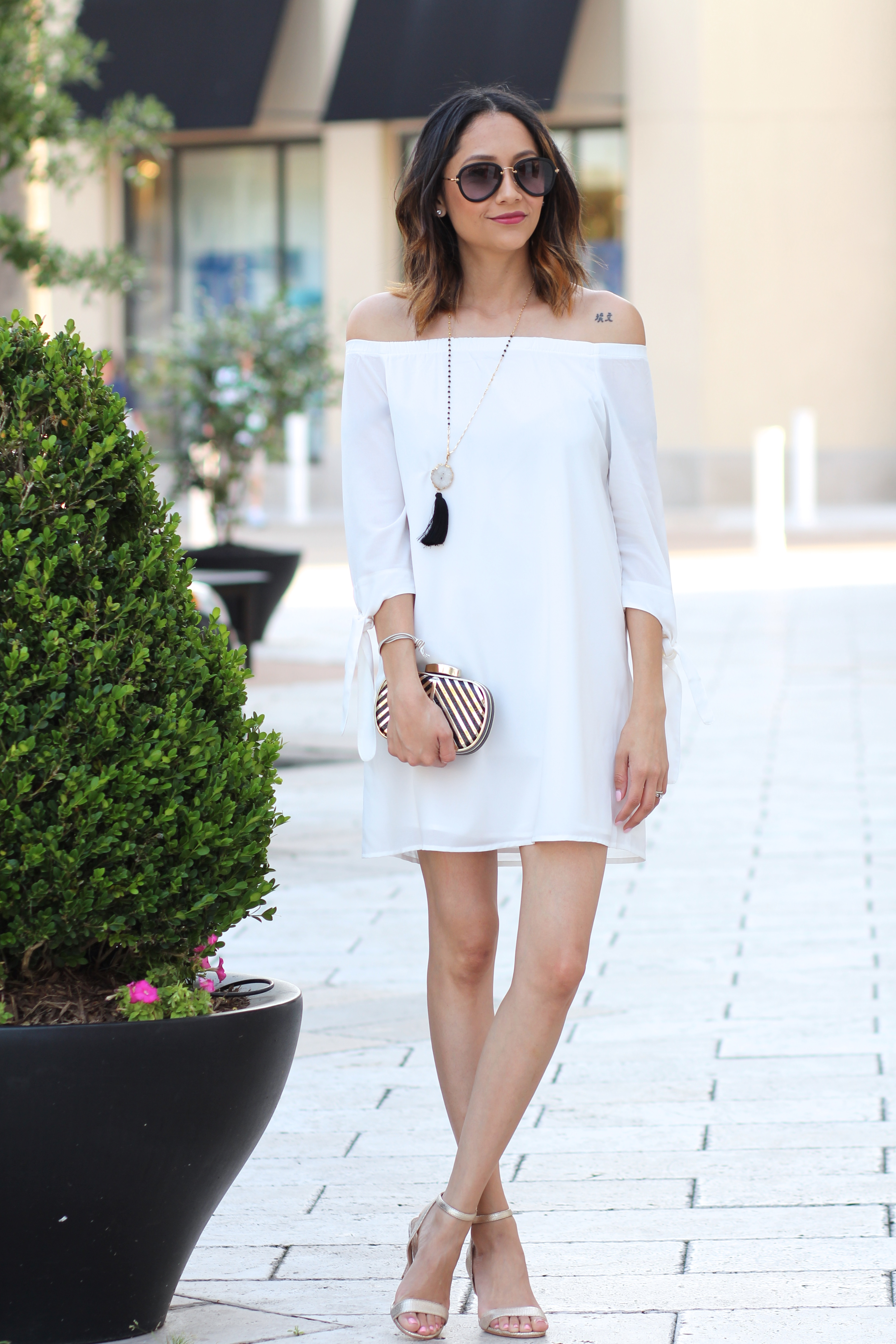white off the shoulder dress & gold heels for a fresh spring look
