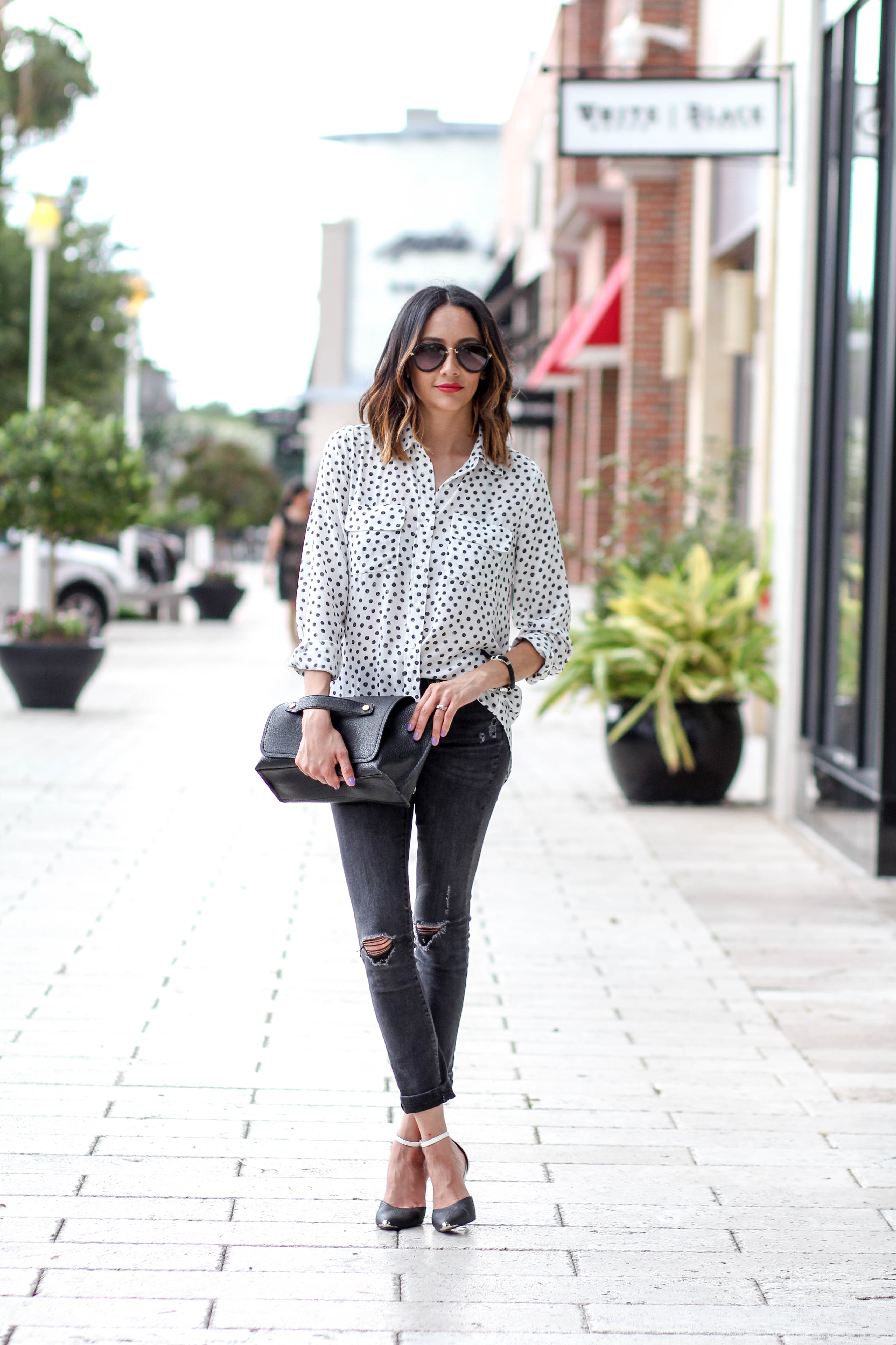 Polka Dotted Shirt   Black Skinny Jeans   Black and White Look