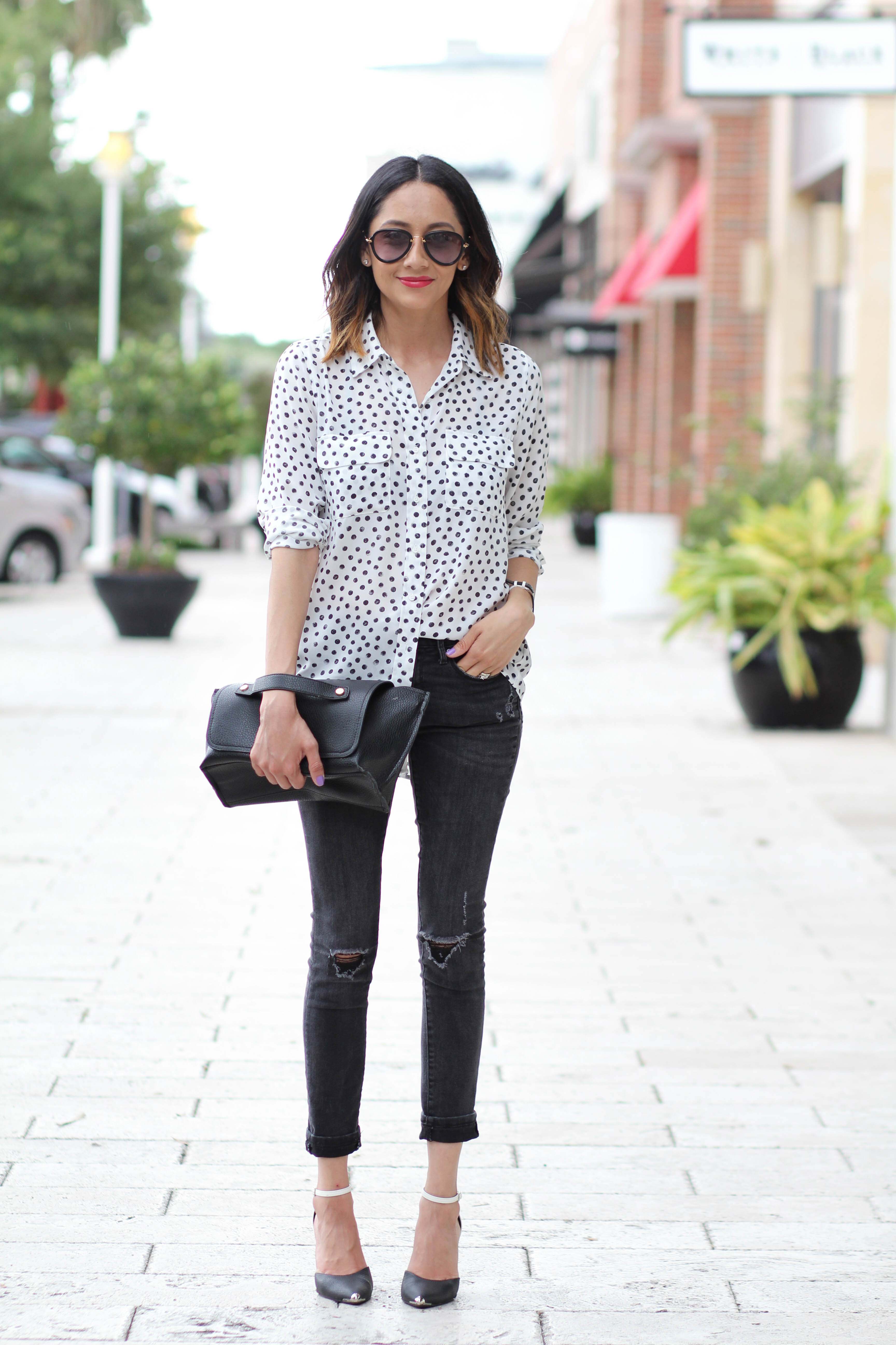 Casual Look   Polka Dotted Top   Black Skinny Jeans