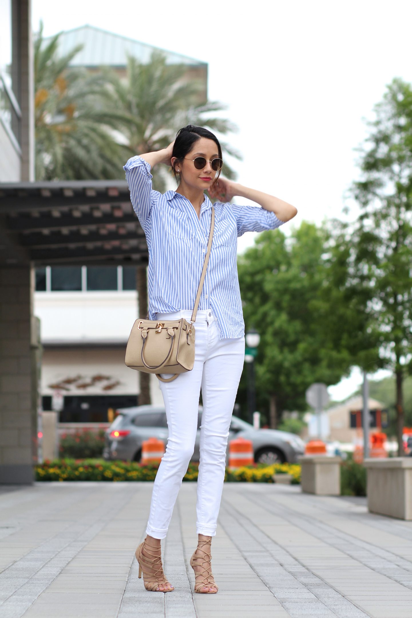 How To Wear Vertical Stripes In Summer   White Denim   Summer Look