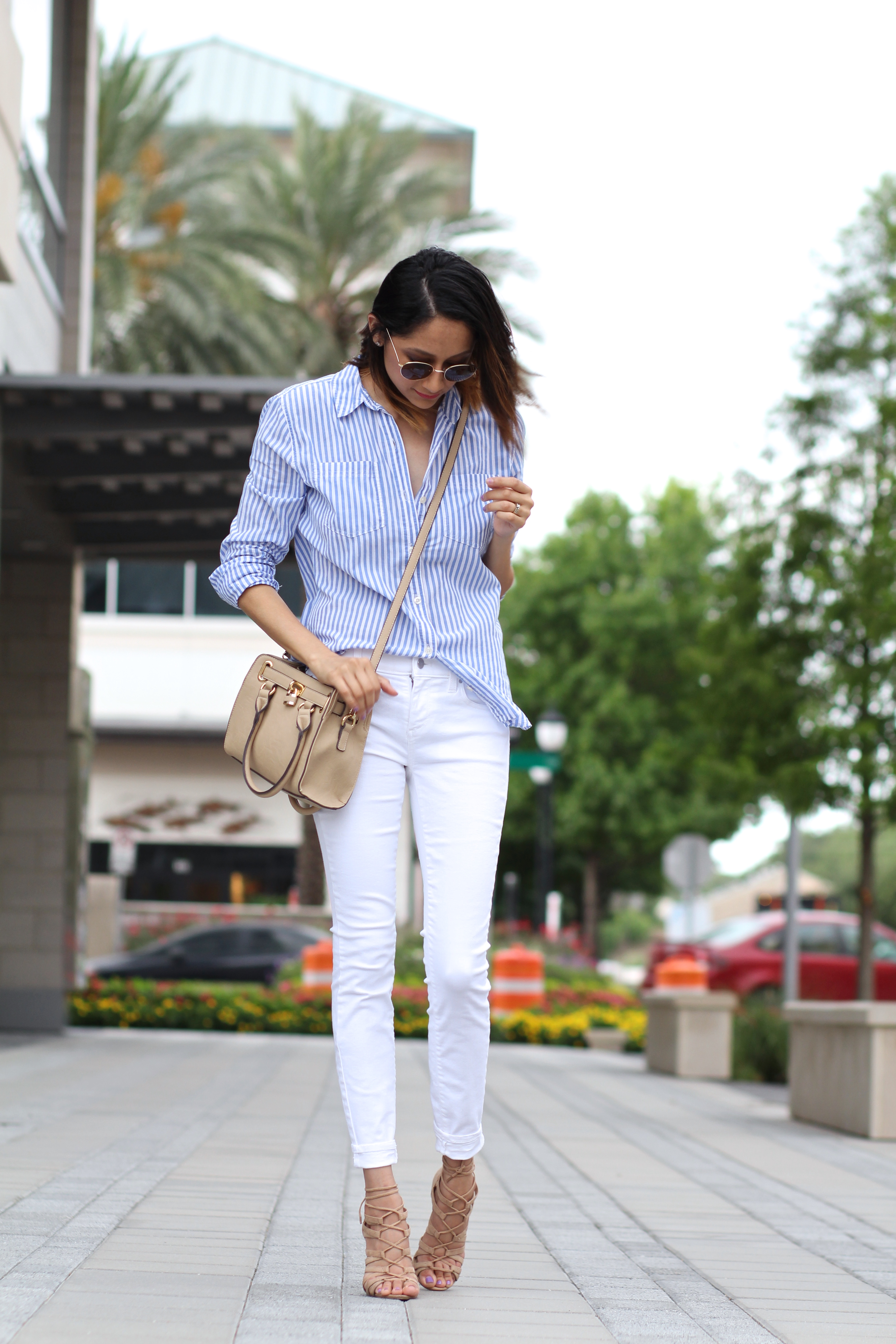 Vertical Stripes For Summer | White Denim | Casual Summer Look