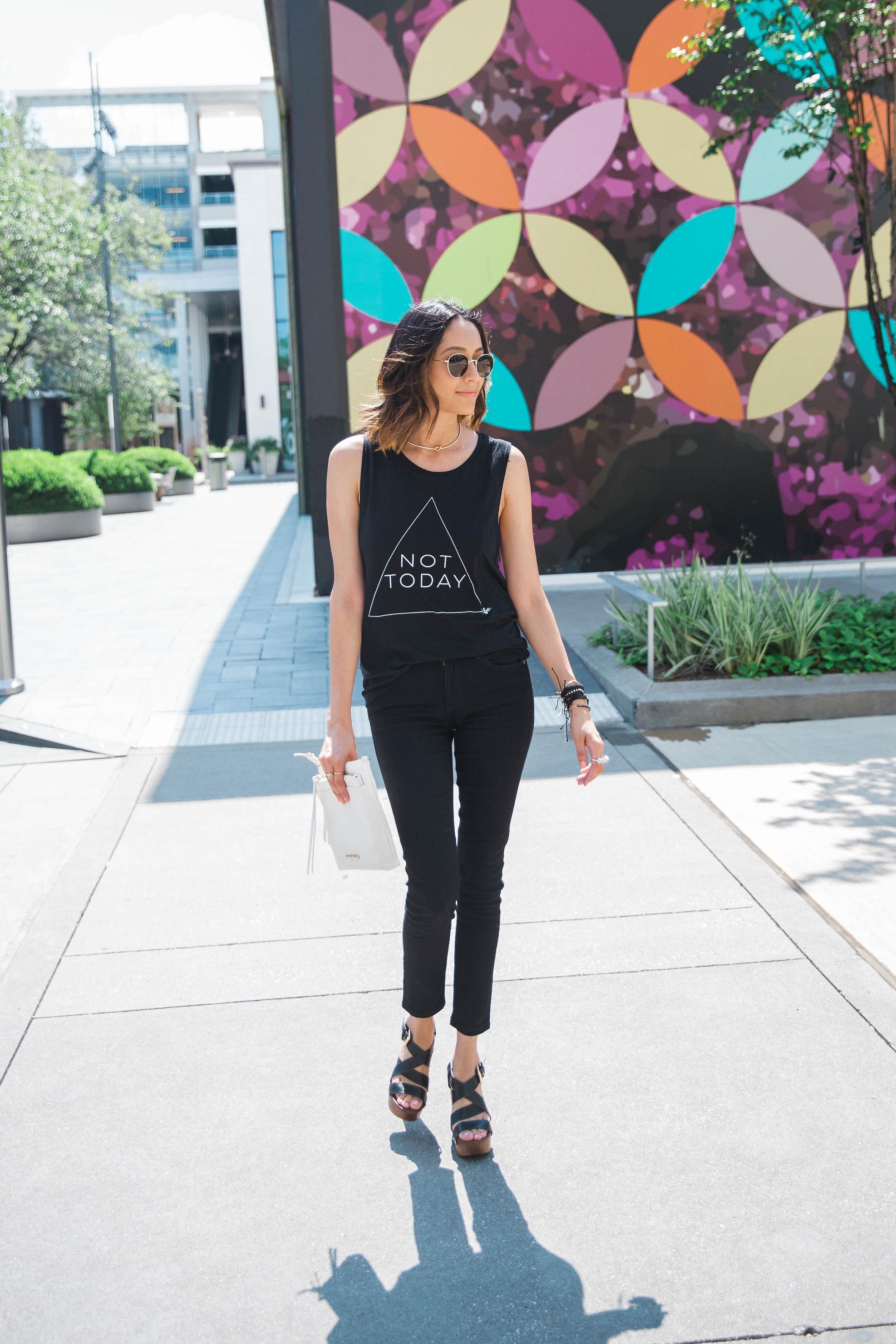 Edgy Look | Black Skinny Jeans | Not Today Printed Tee |Platform Sandals