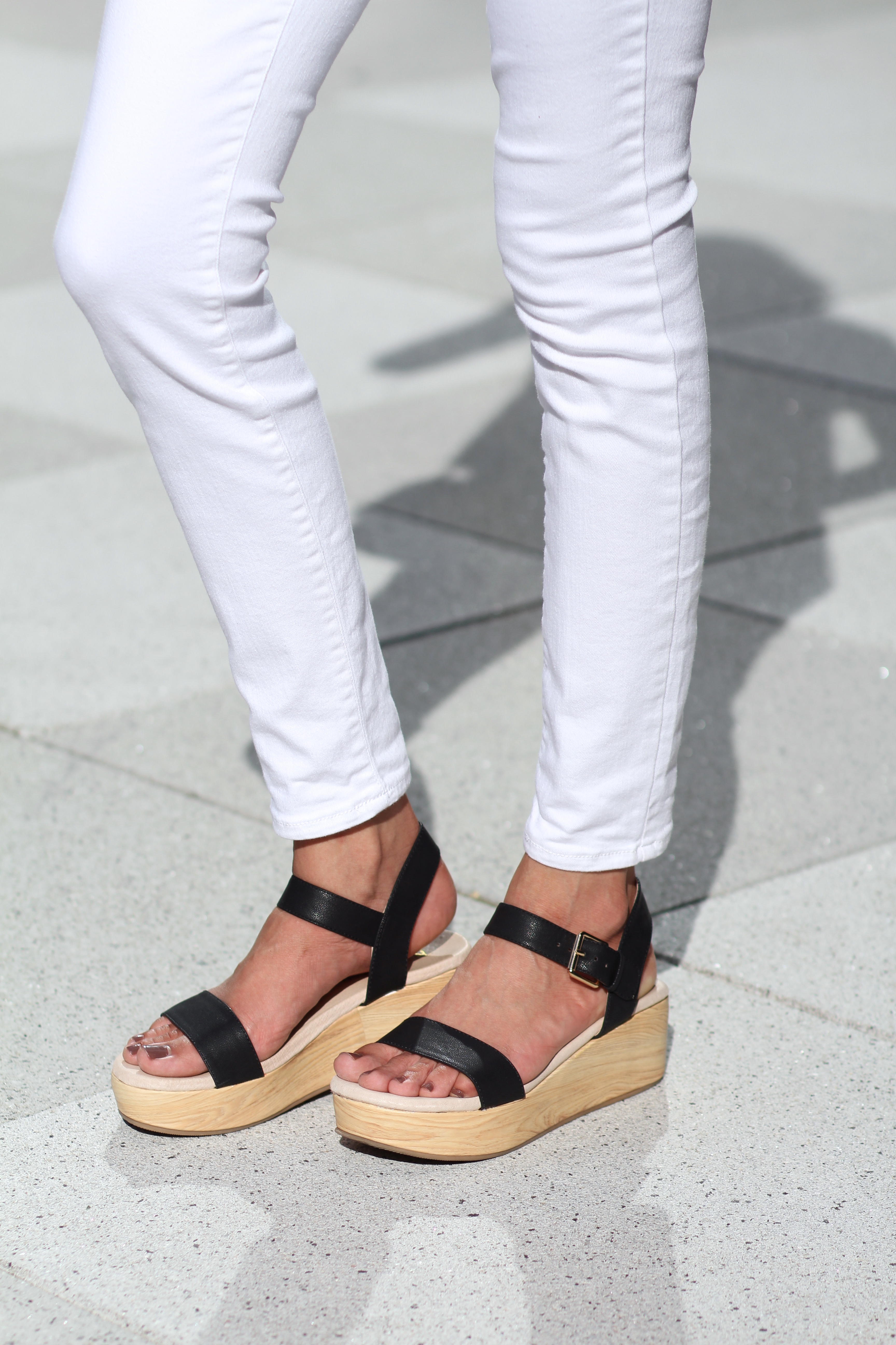 Black Platform Sandals | White Denim