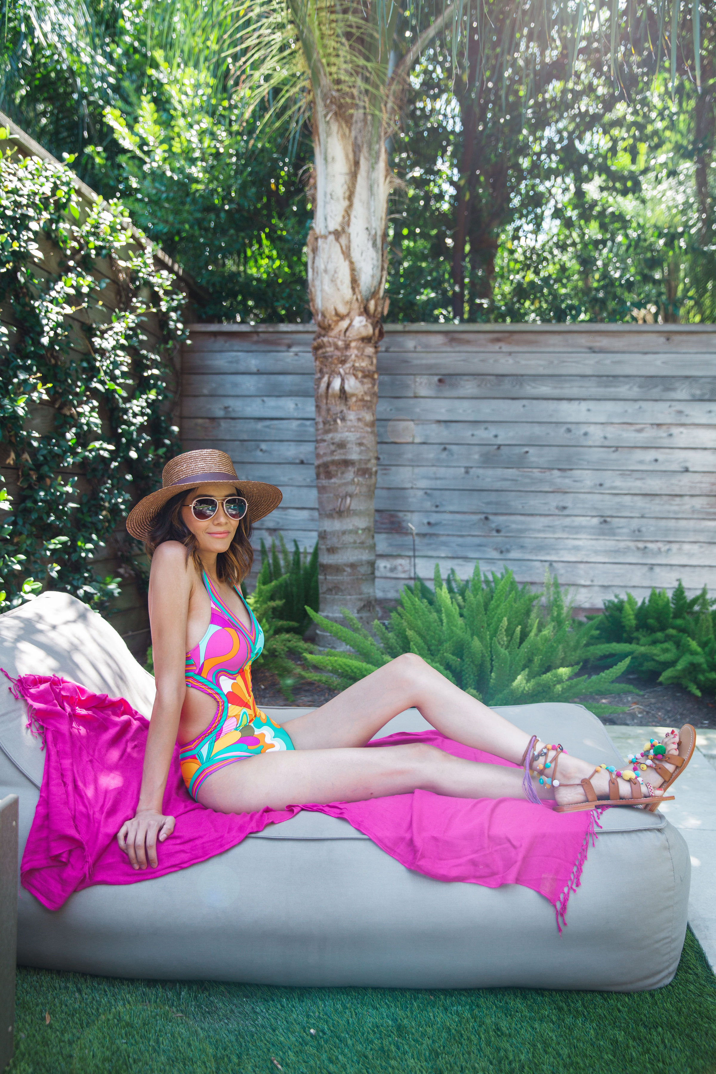 Hanging by the pool in Trina Turk