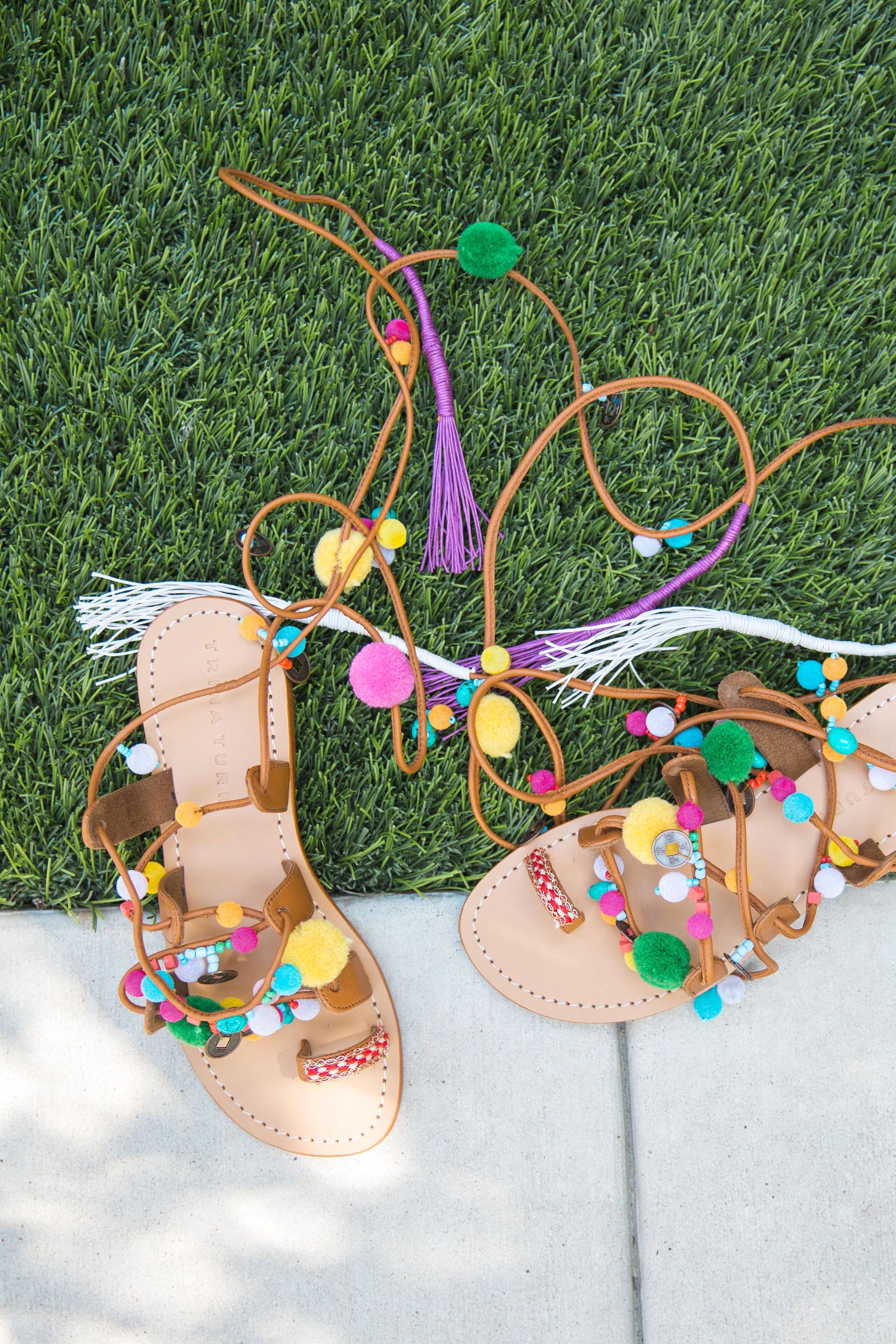 Trina Turk Pompom Sandals | Pom pom sandals
