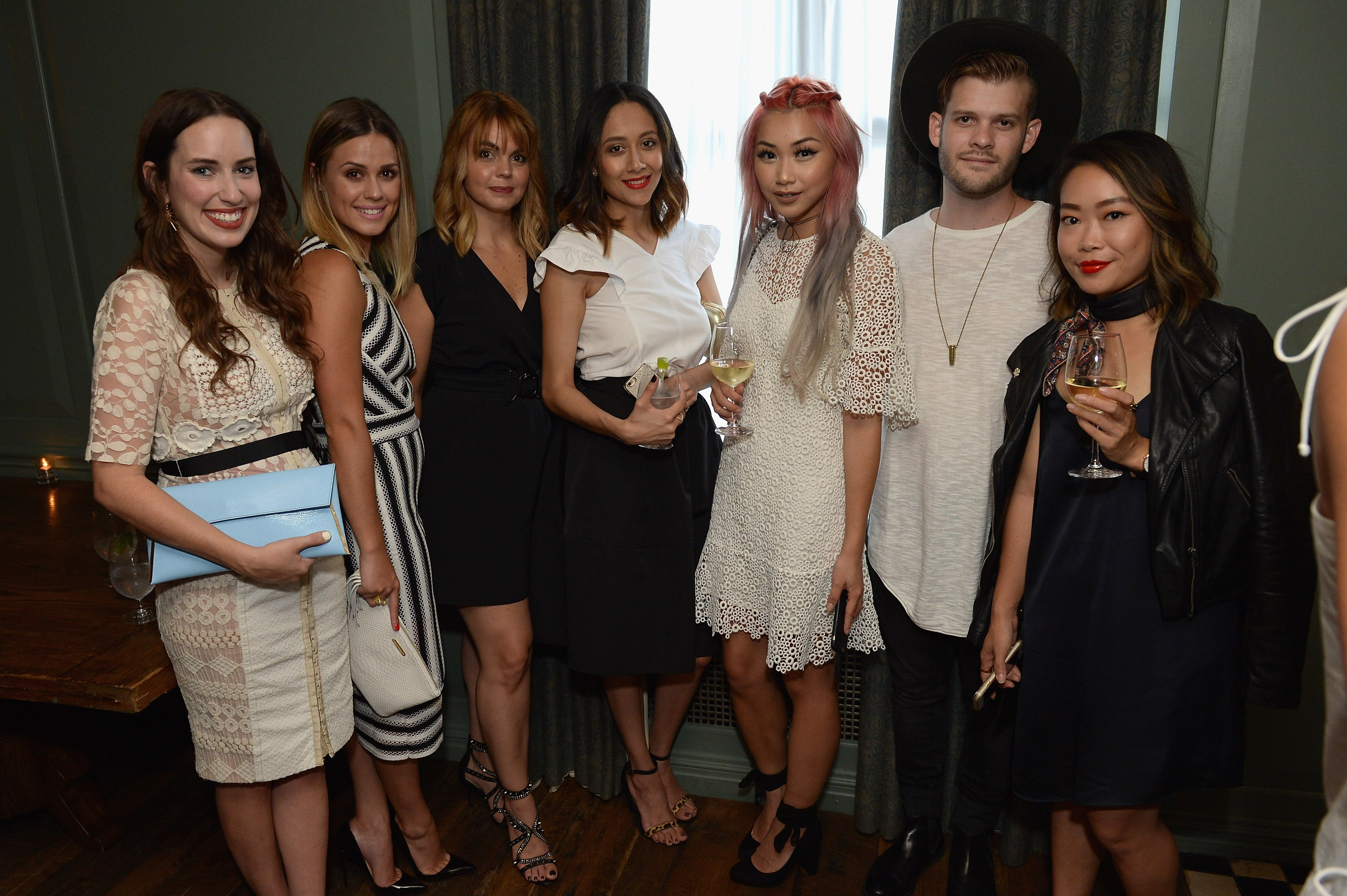 NEW YORK, NY - AUGUST 11: (L-R) Alice Kerley, Elly Brown, Allini Muller, Lilly B, Francis Lola, Josh Dowel, and guest attend the Ego Soleil Fashion Label Launch of SS17 Fashion Collection in New York City on August 11, 2016 in New York City. (Photo by Andrew Toth/Getty Images for Ego Soleil)