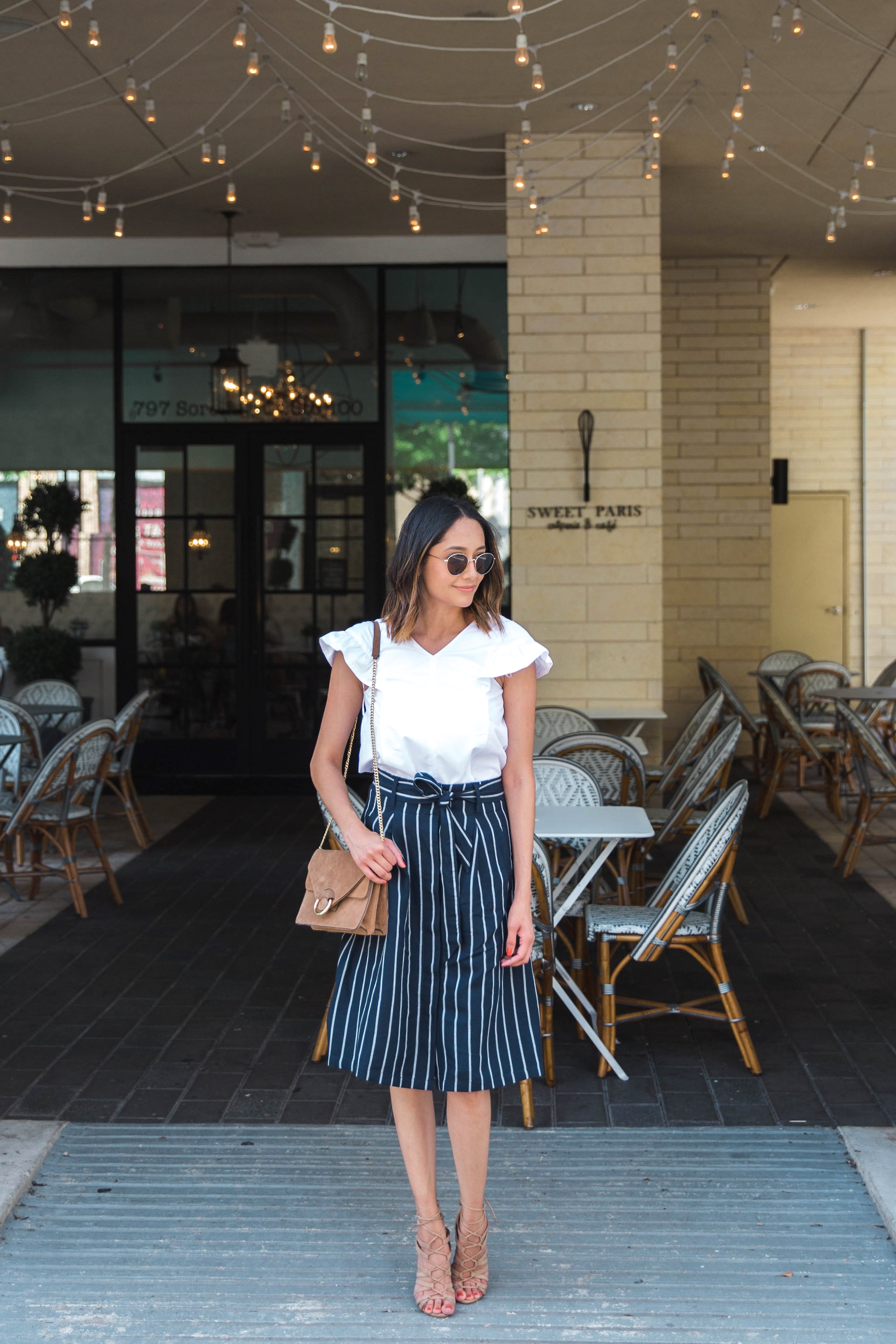 Ruffle Sleeves | Striped Skirt