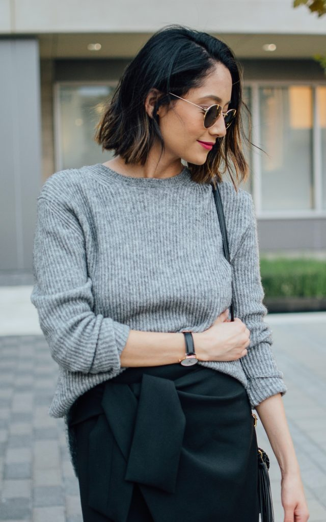 Wrap Skirt + Leather Booties For Fall
