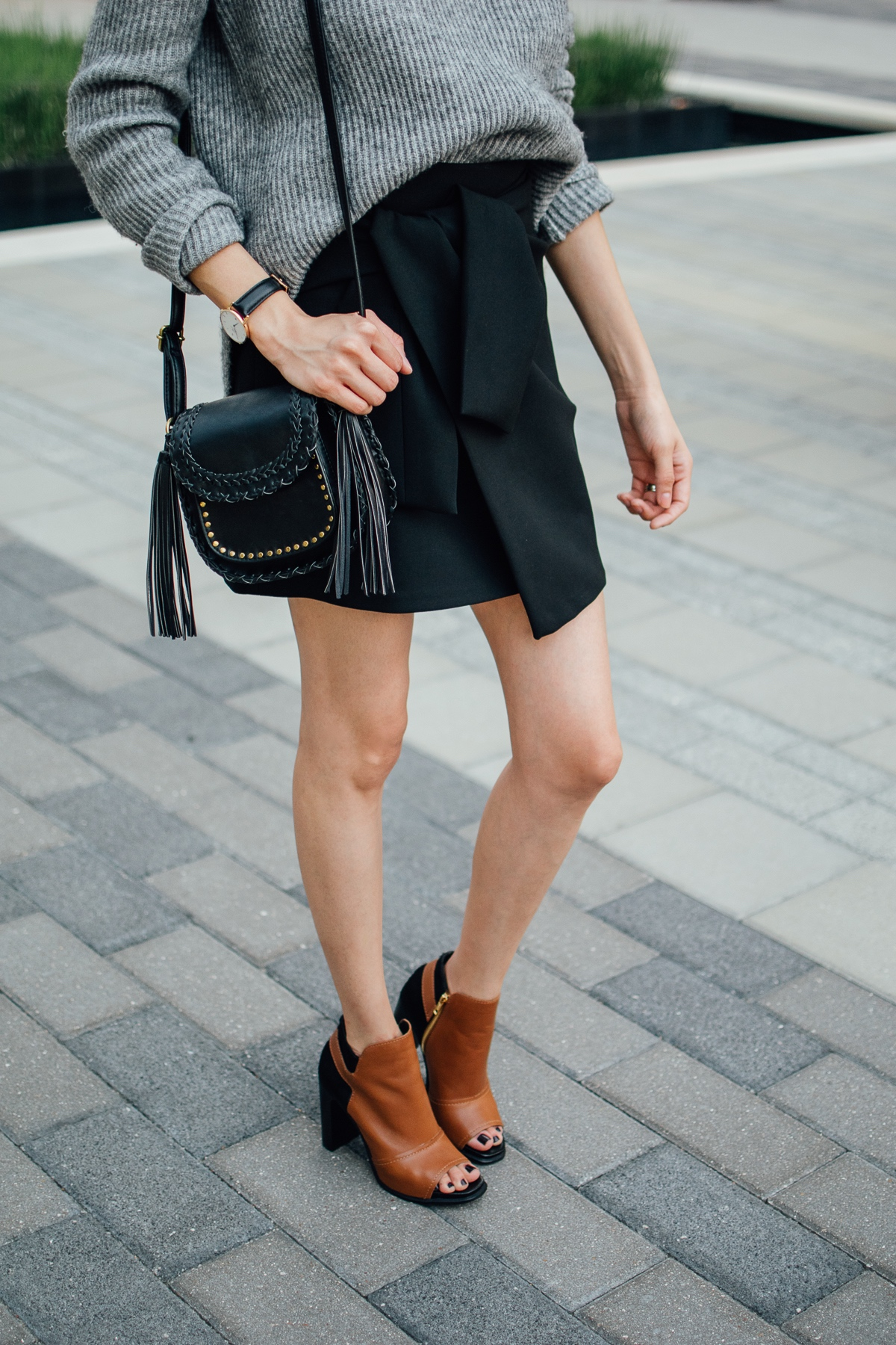 Leather booties & wrap skirt