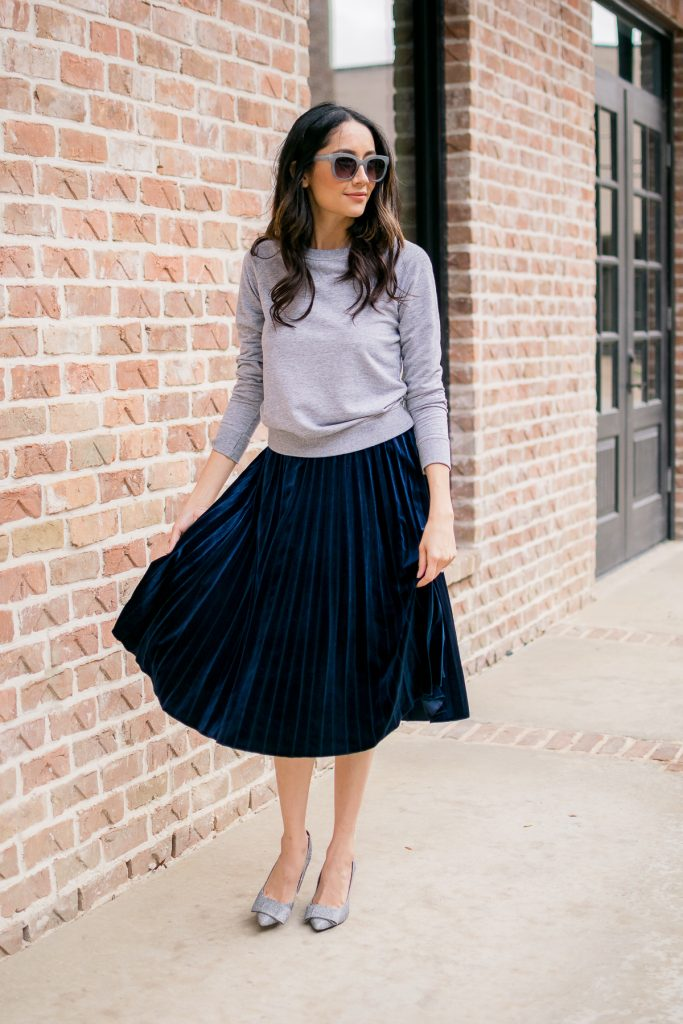 Blue Pleated Velvet Skirt + Silver Glitter Pumps