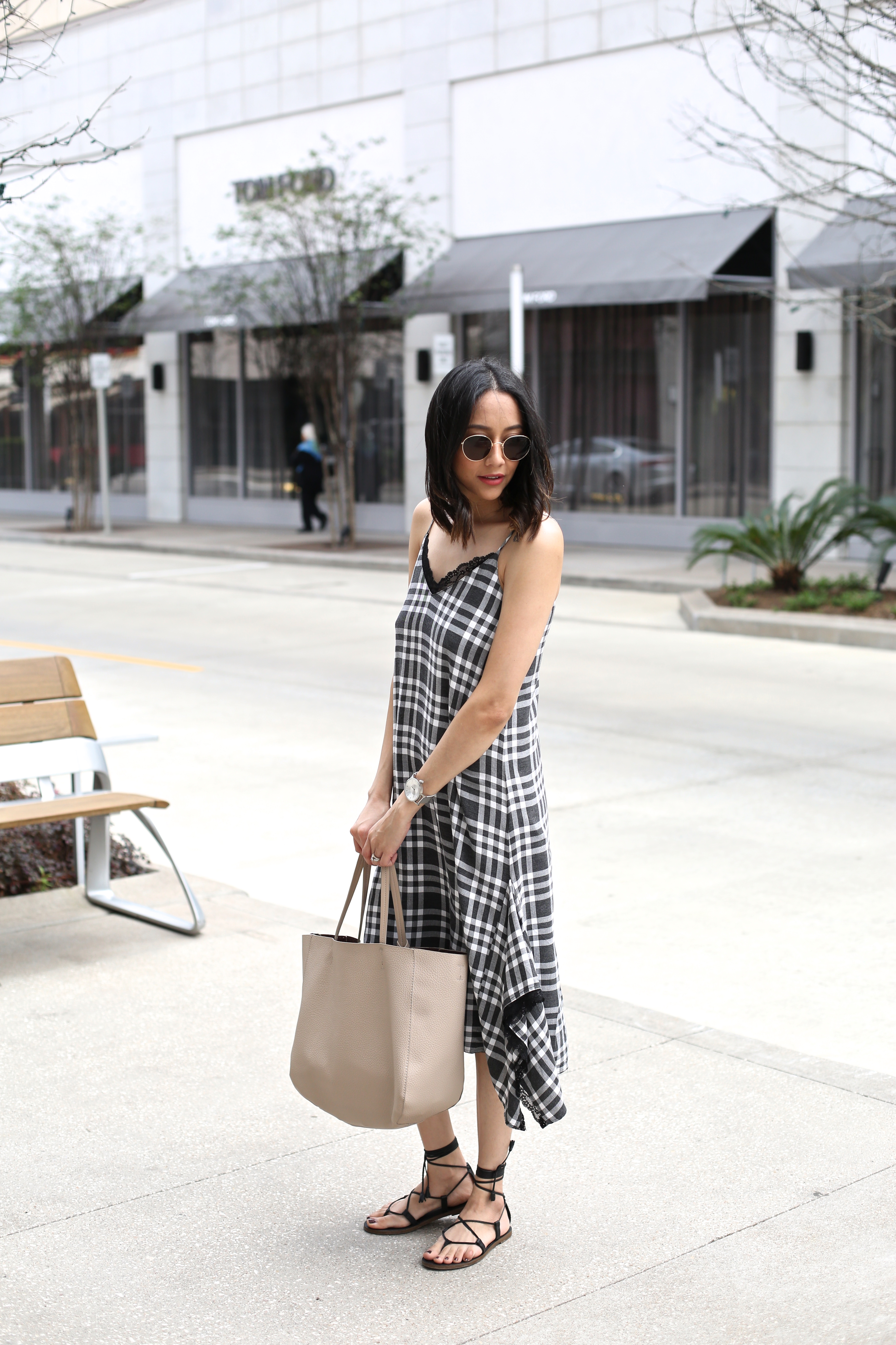 Black plaid dress and lace up leather sandals