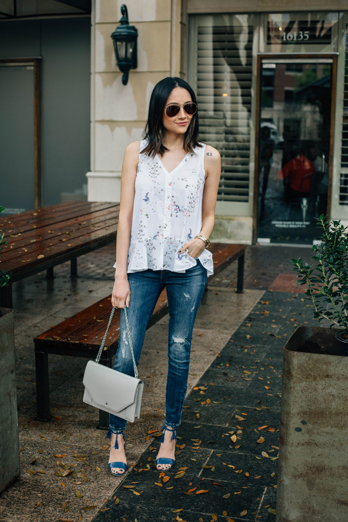 Daily Craving, Fashion Blogger, Floral Print Tops, Skinny Jeans, Lace Up Sandals