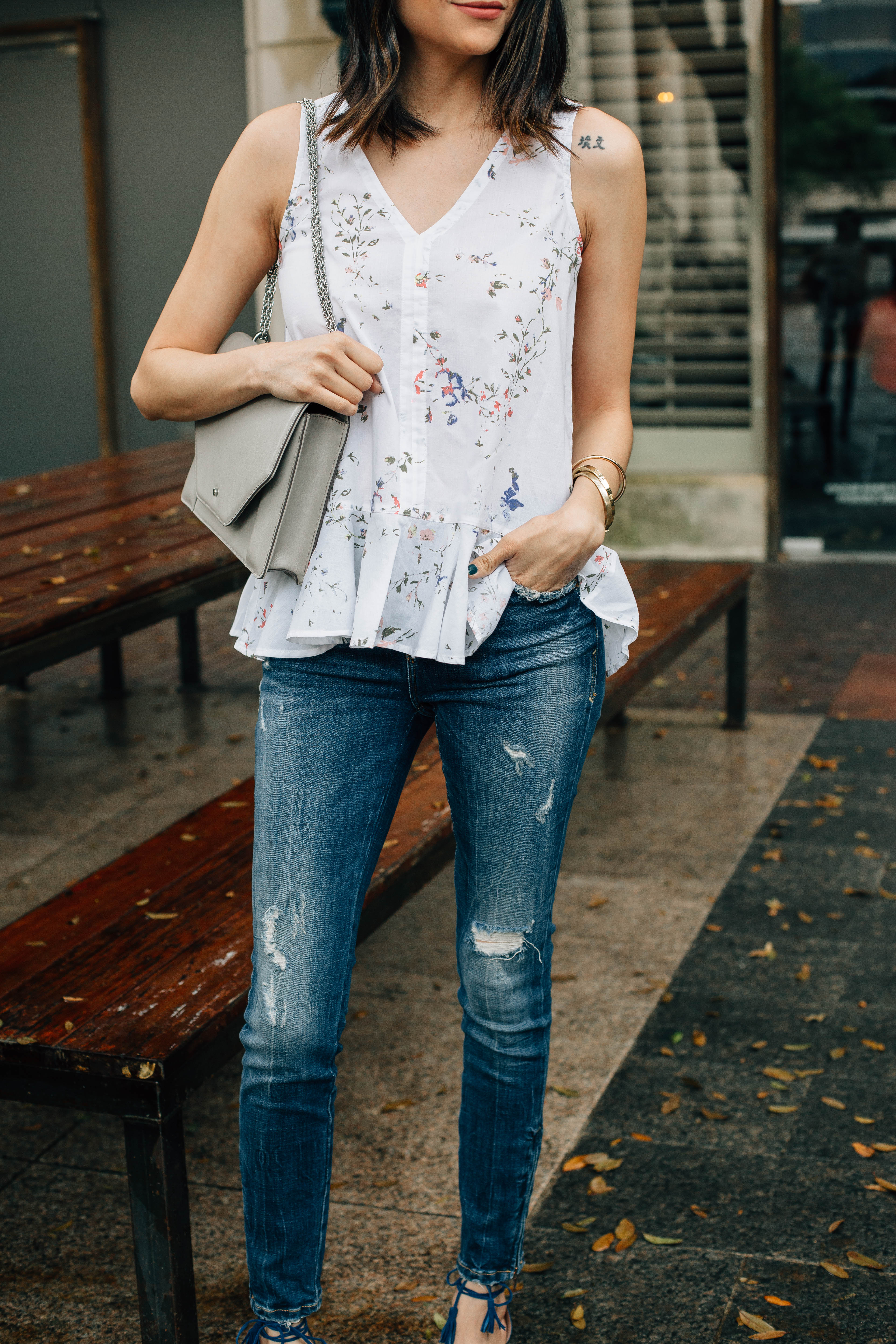 Daily Craving, Fashion Blogger, Floral Print Tops, Skinny Jeans, Lace Up Sandals, Peplum Top