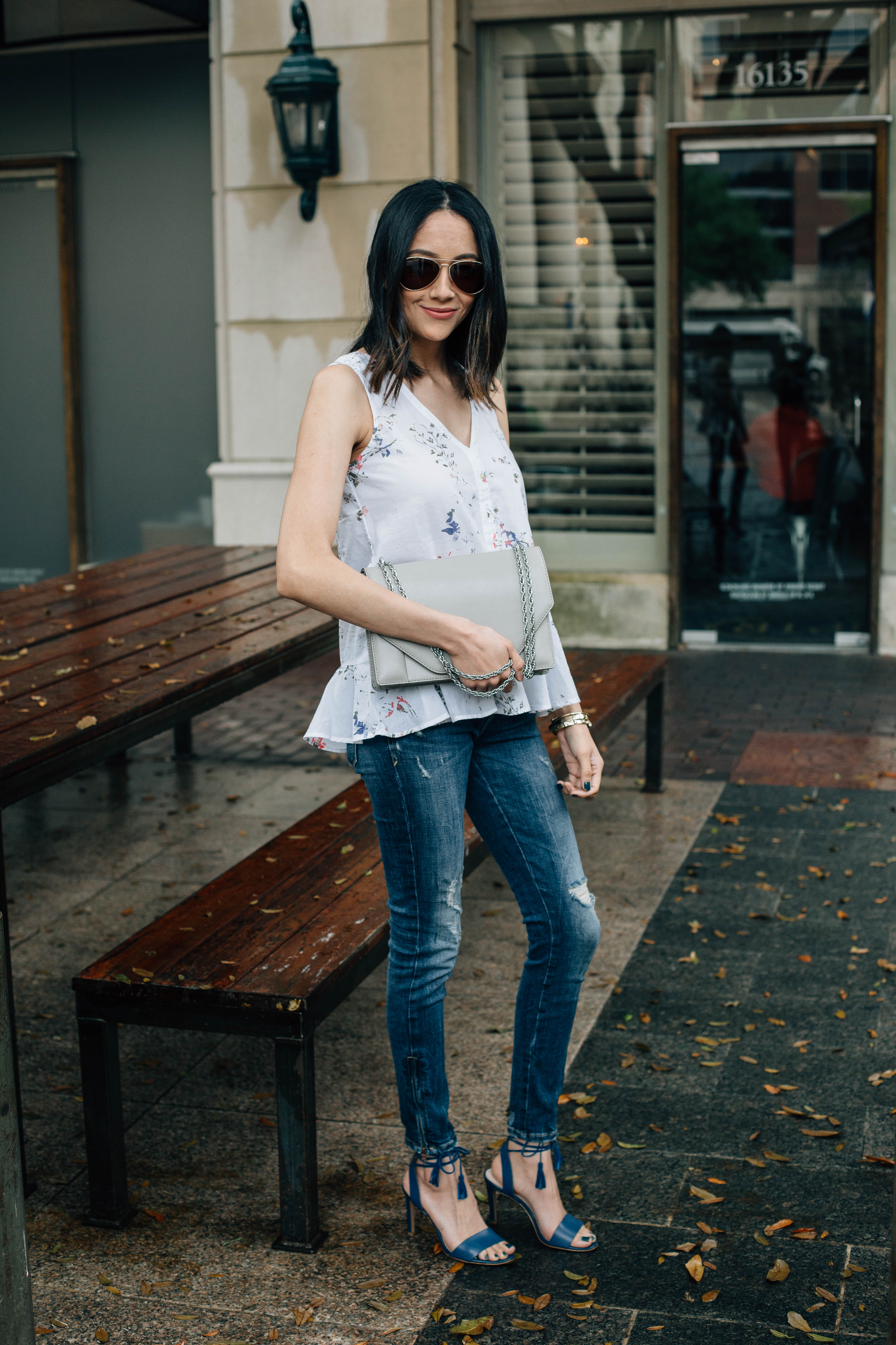 Daily Craving, Fashion Blogger, Floral Print Tops, Skinny Jeans, Lace Up Sandals, Effortless Style