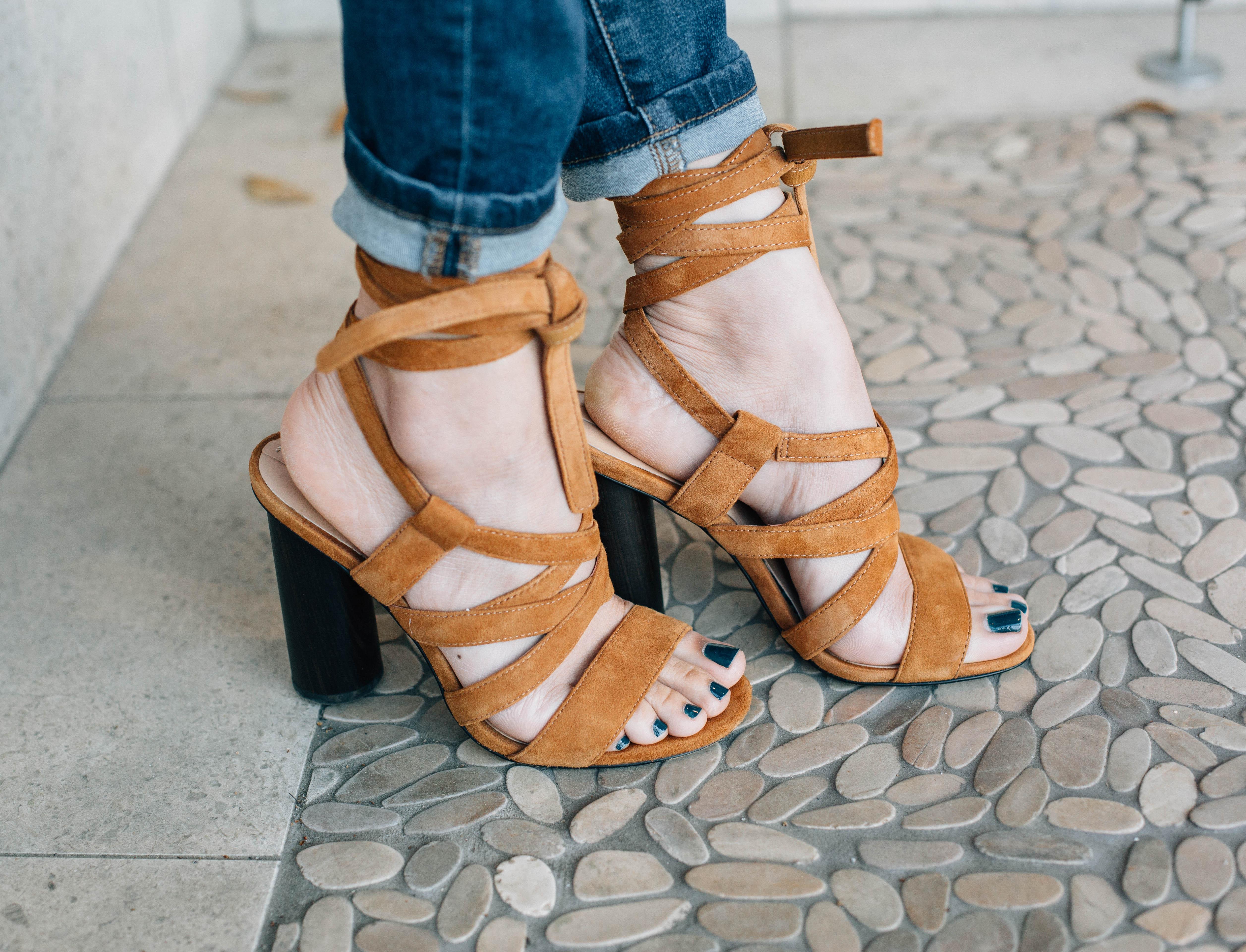 one shoulder top & lace up suede sandals