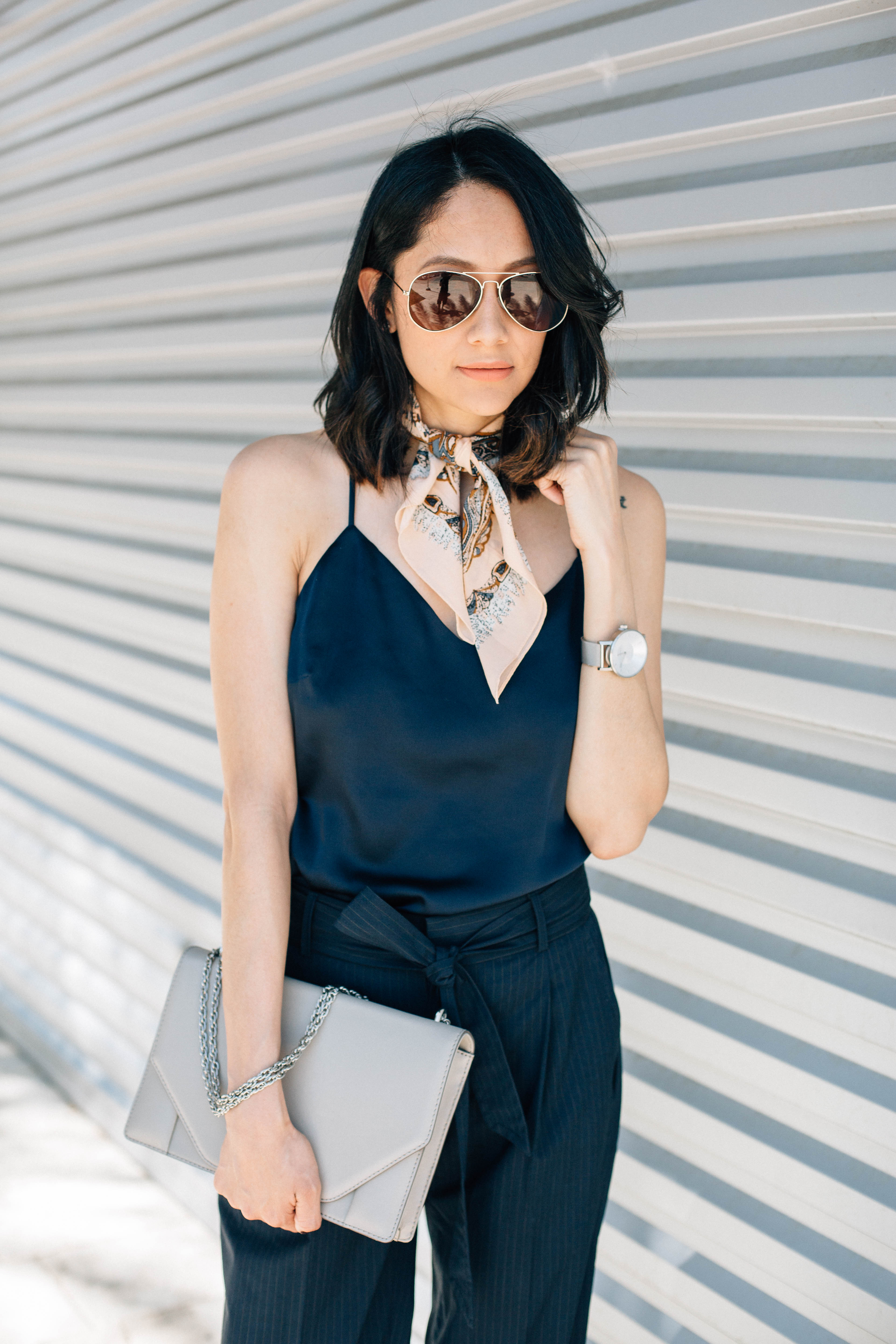 Chic pants, silk camisole & neckerchief