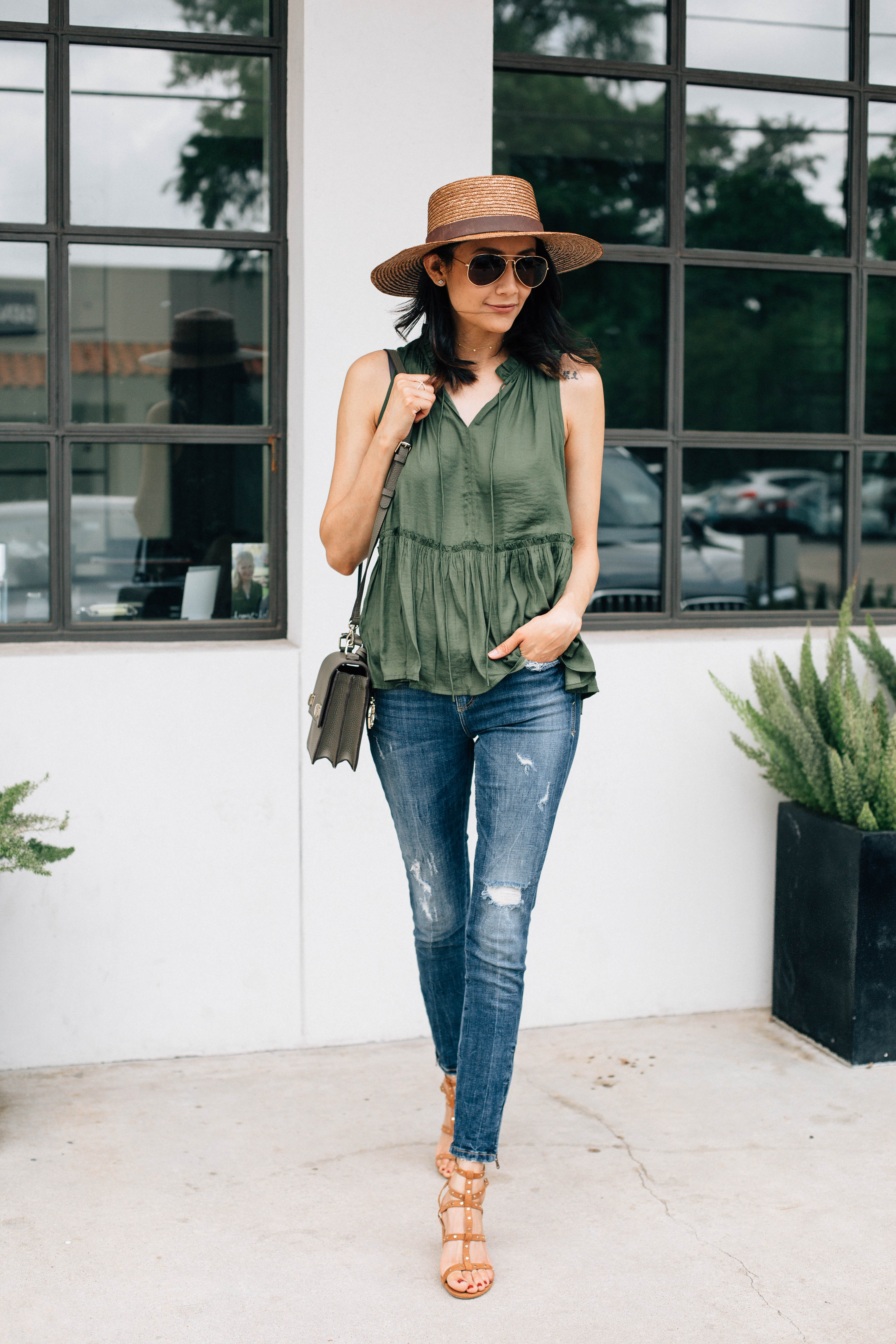 Loft Top, Zara jeans, Charming Charlie sandals | Weekend Style