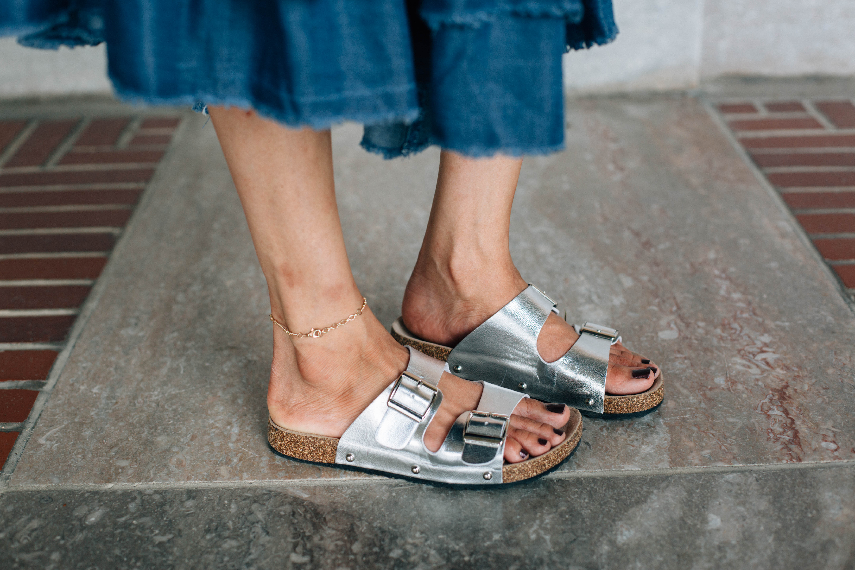 Birkenstock style silver sandals
