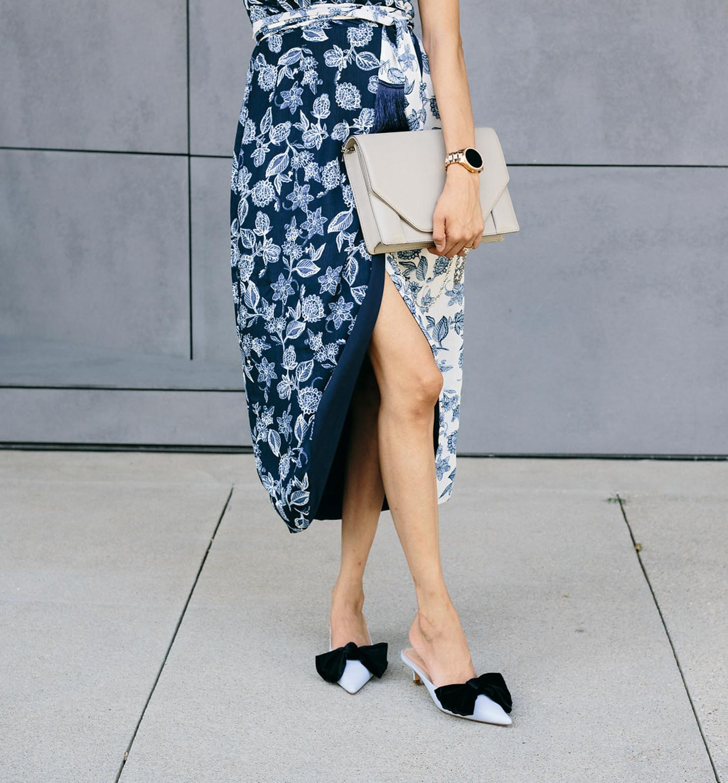 Daily Craving in a blue floral print wrap dress and velvet bow kitten heel slides