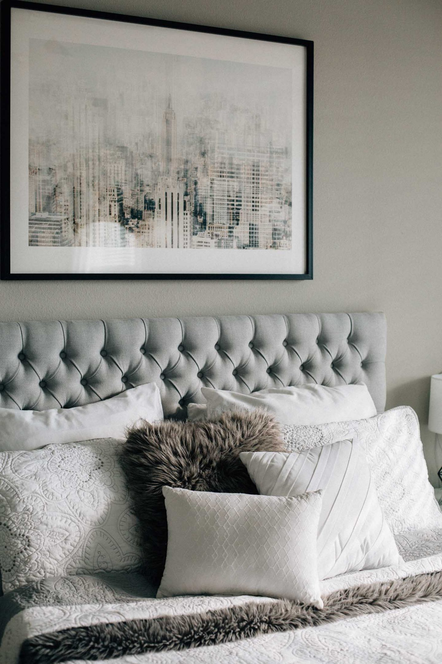 Lifestyle blogger Lilly Beltran's master bedroom reveal with Minted