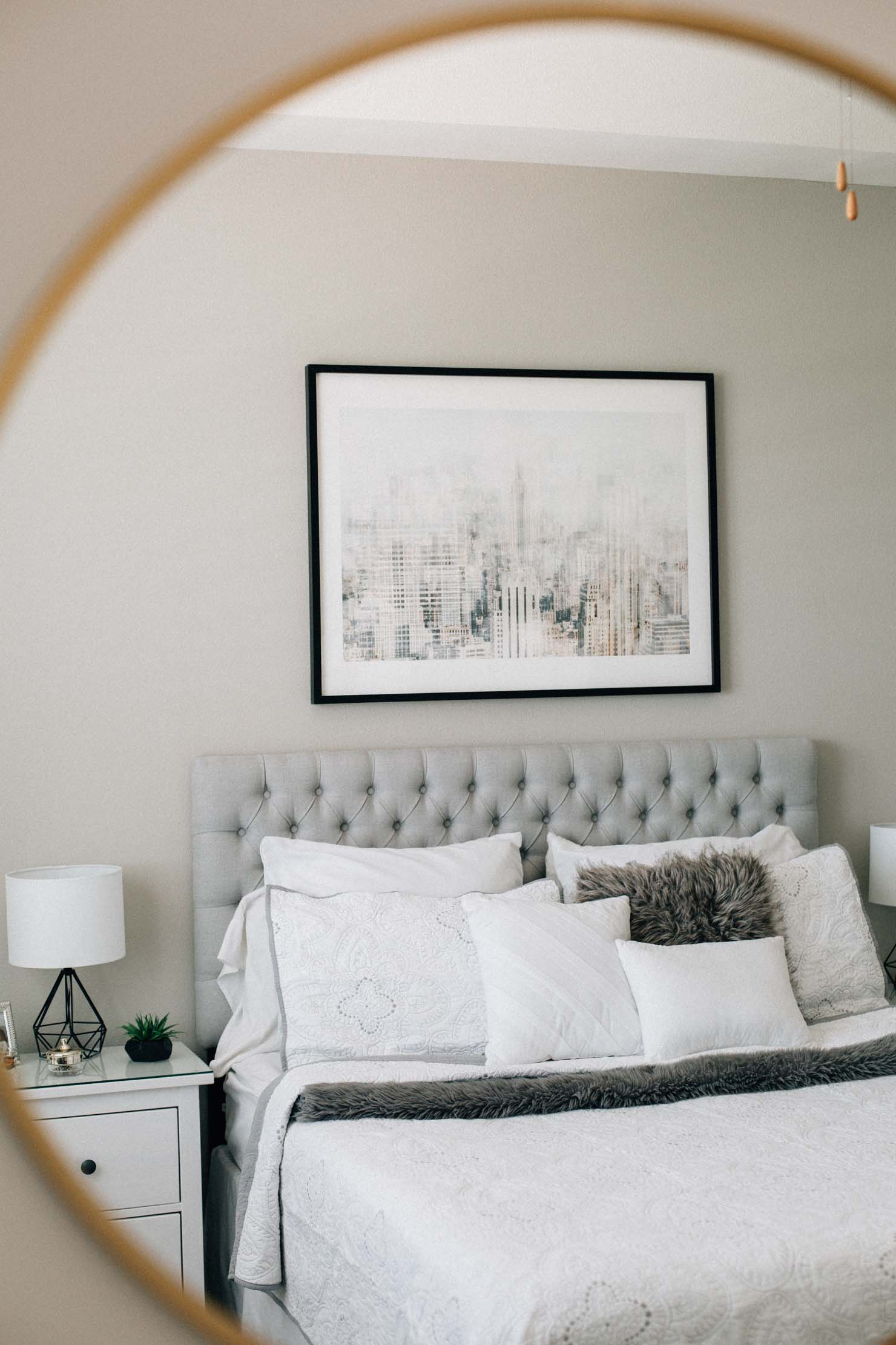 Lifestyle blogger Lilly Beltran of Daily Craving shares her master bedroom reveal with Minted art