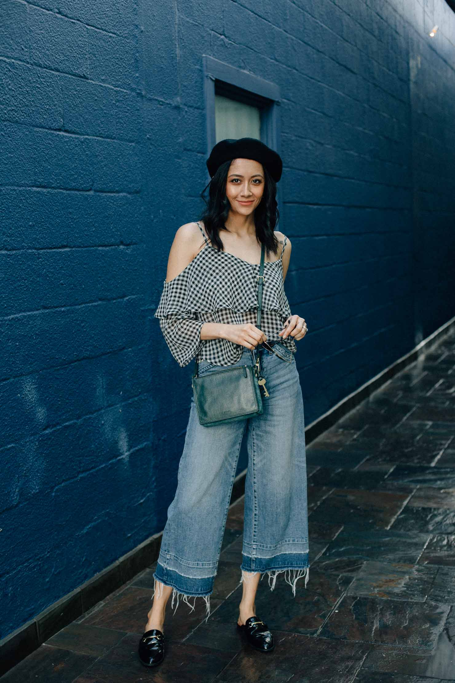 Houston Based Fashion Blogger | Wide Leg Denim | Effortless Style | Gingham Top