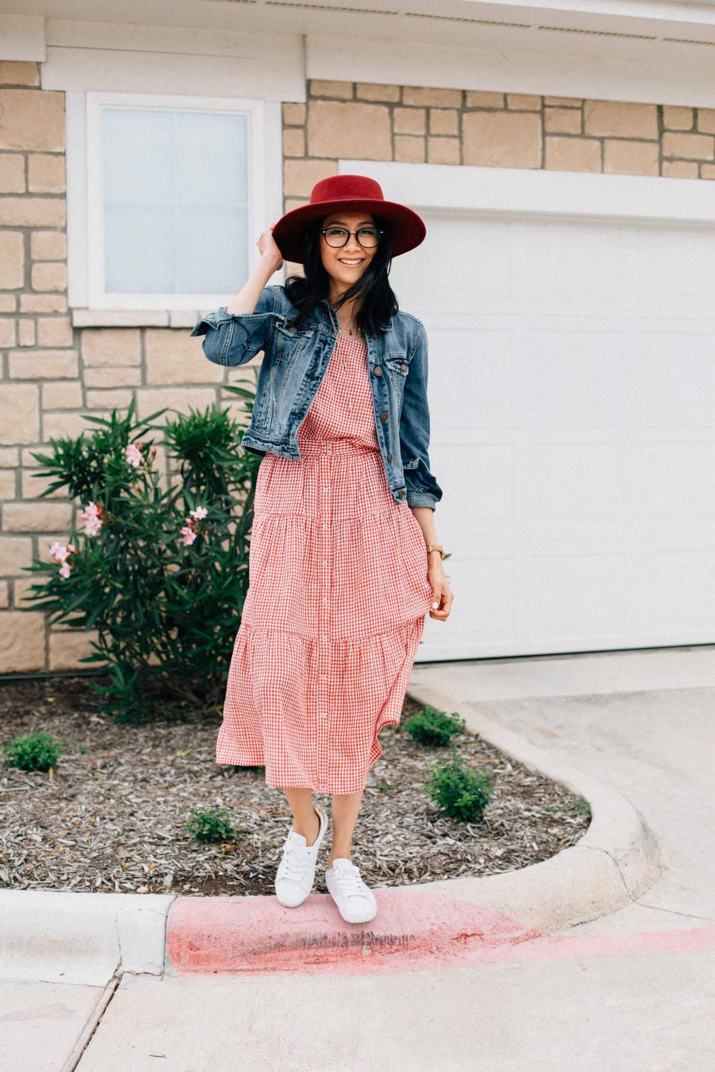 Gingham Set + White Sneakers | Effortless Spring Look