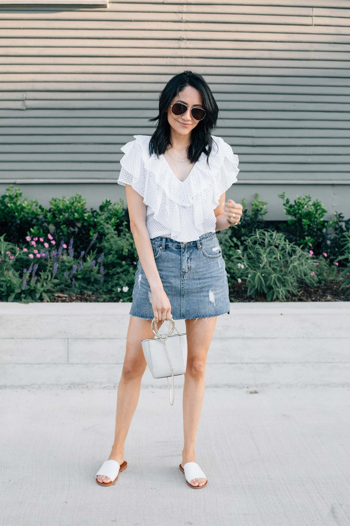 fashion & lifestyle blogger Lilly Beltran | White eyelet tops | Houston blogger | street style blog