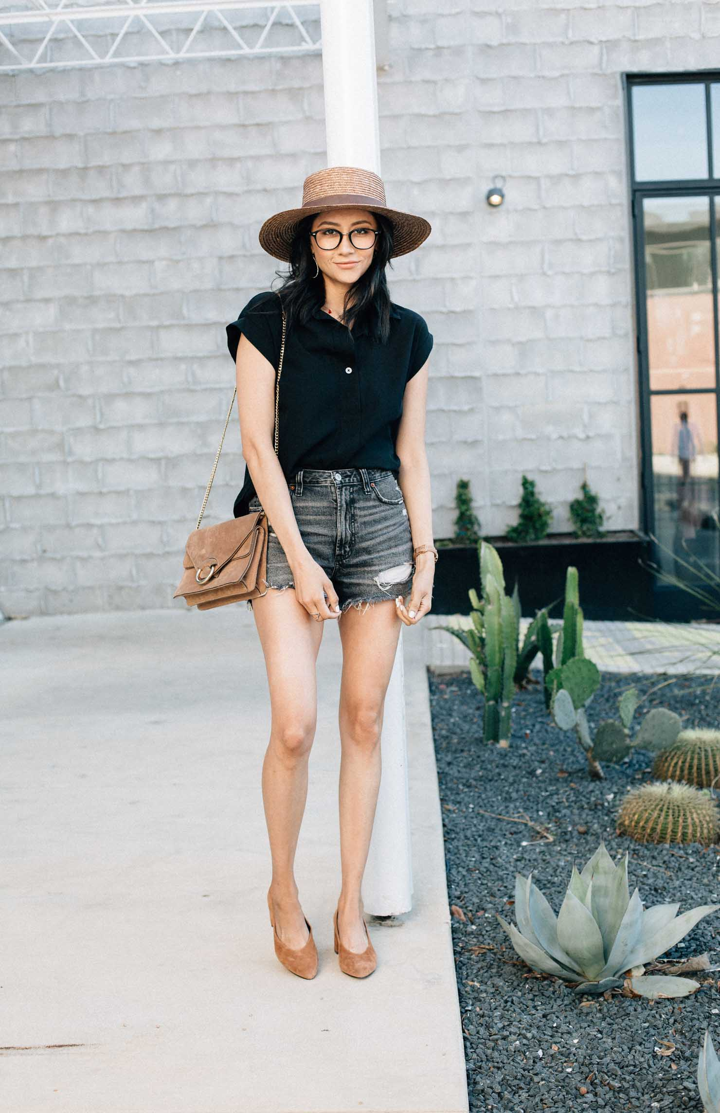 Abercrombie high waisted denim shorts & black drop sleeve shirt | Lilly Beltran of Daily Craving blog
