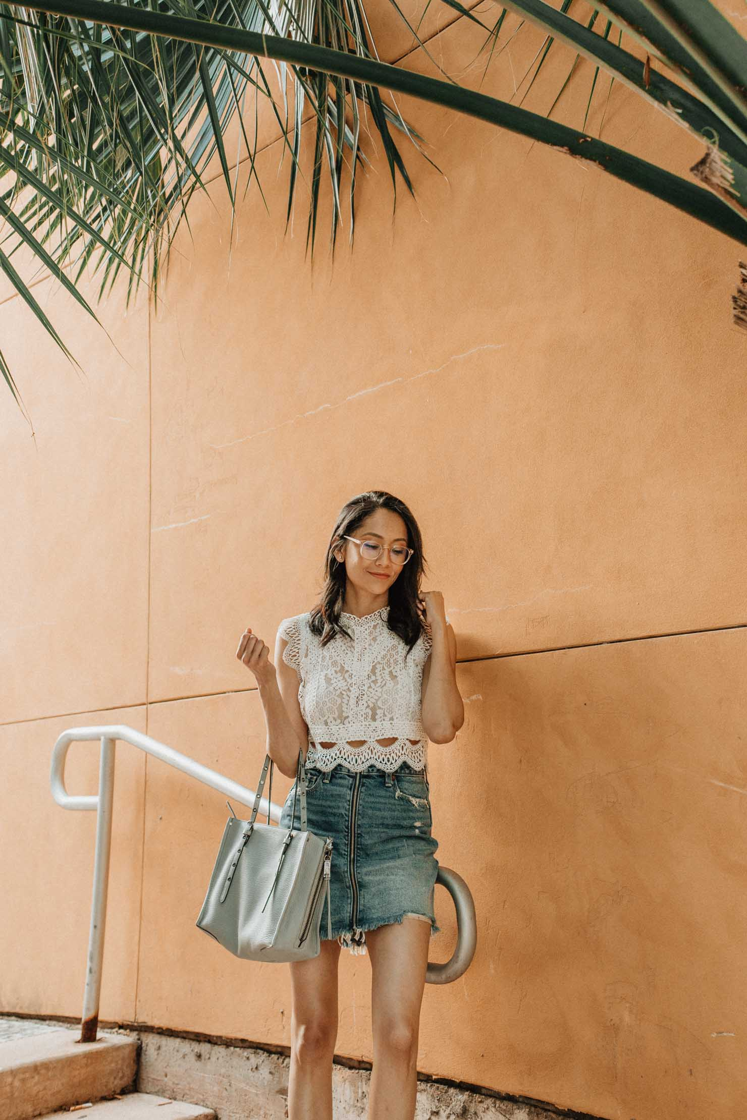 Summer Looks | Lilly Beltran, fashion blogger | Chic Wish lace crop top & Abercrombie denim skirt