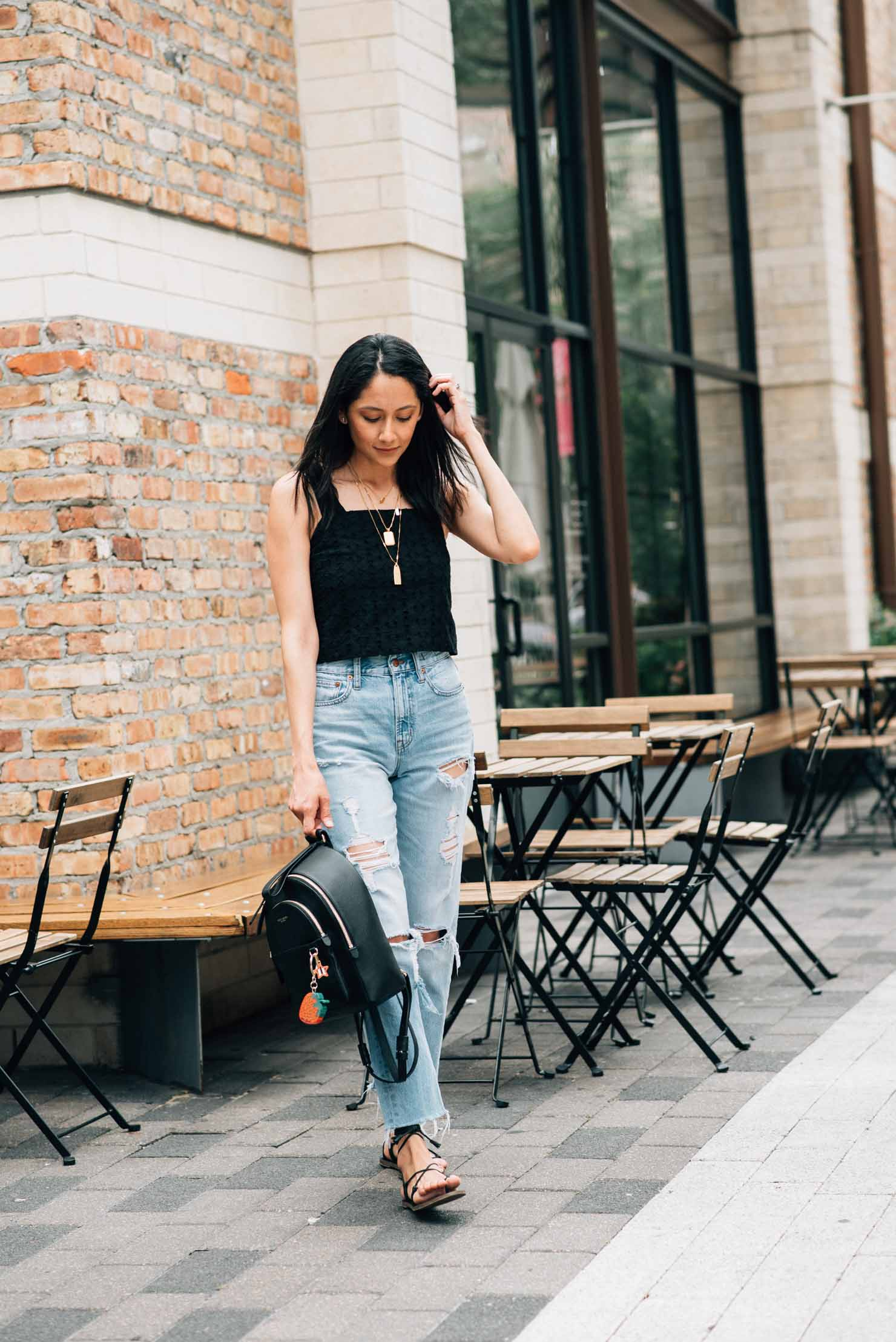 Eyelet Crop Tops, ripped high waisted jeans and Madewell lace up sandals | Lilly Beltran, fashion blogger