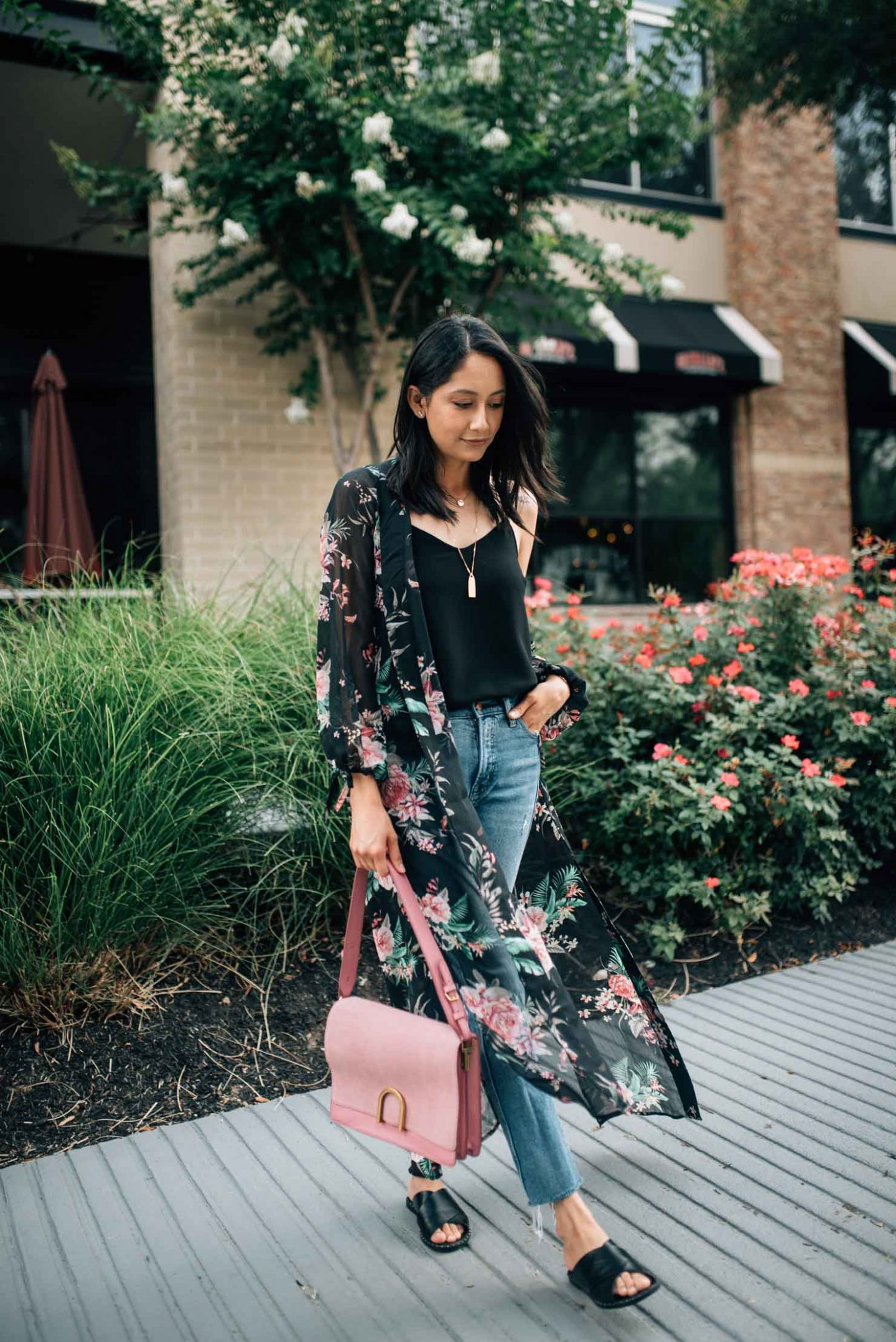 Long floral kimono | Straight fit jeans | Summer look | Street Styles | Houston blogger