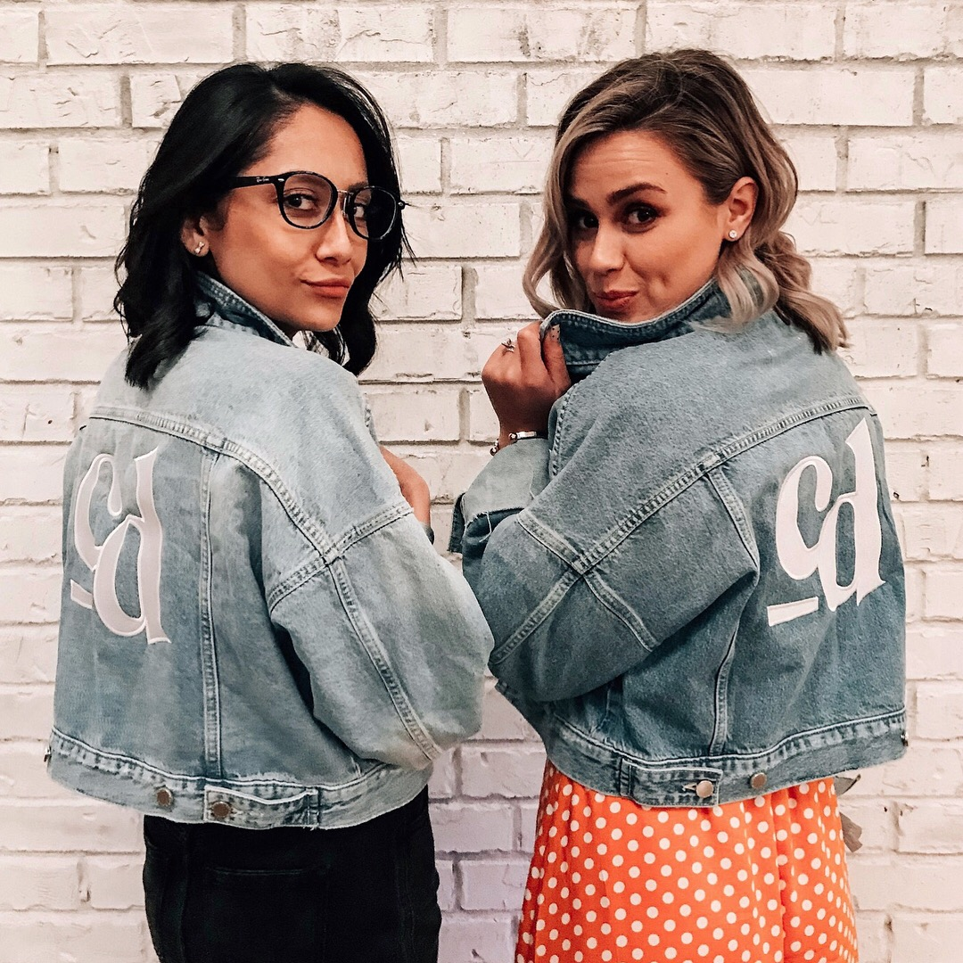 Blogging tips from the Chloe Digital World Tour conference. Lilly & Elly wearing Chloe Digital custom denim jackets