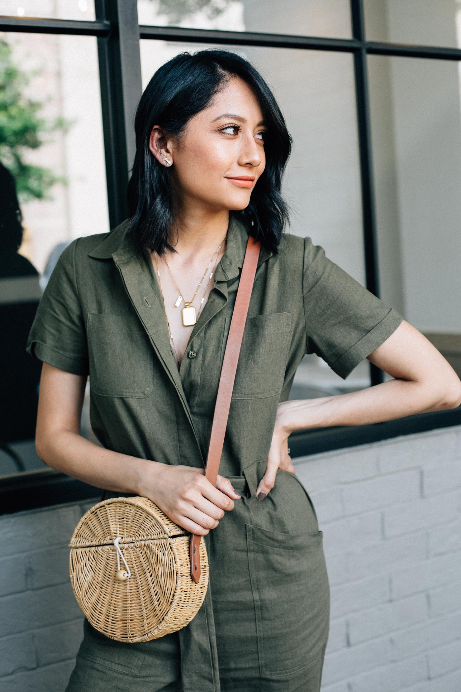 Military style linen jumpsuit | cute summer looks | Brunette hair styles | Lilly Beltran, fashion & lifestyle blogger | Street Styles