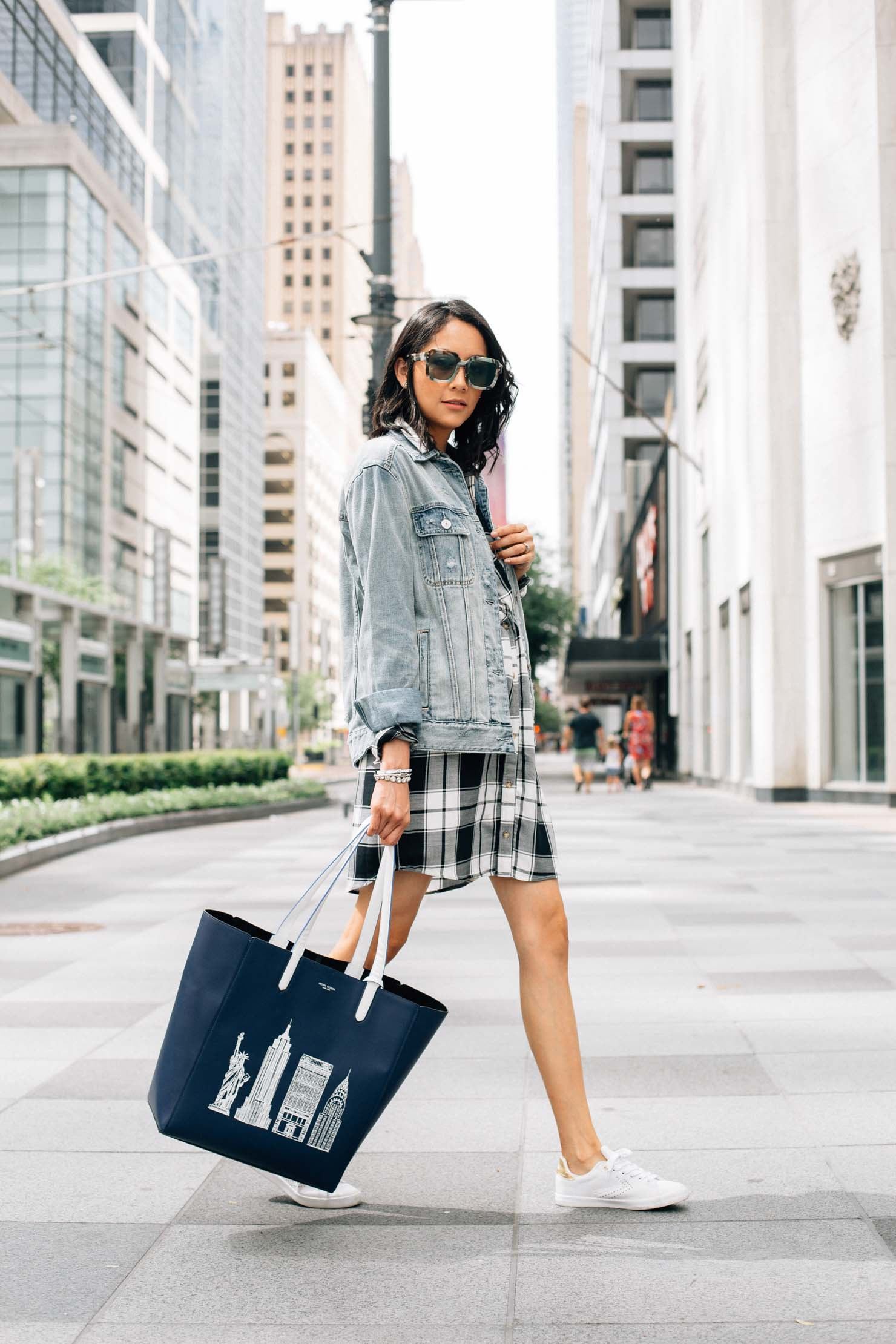 Street style chic in an Abercrombie plaid dress and oversized denim jacket