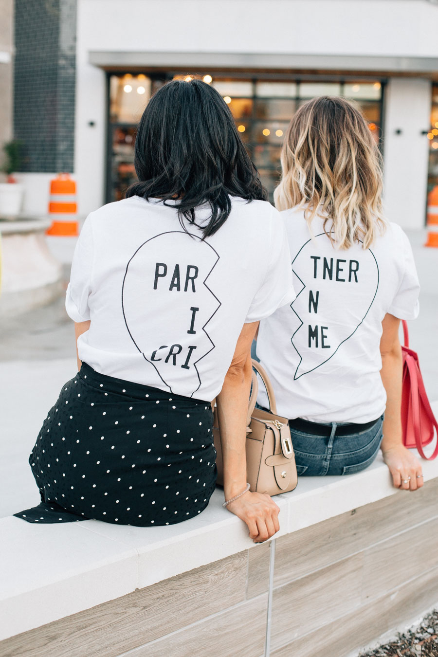 fashion bloggers Elly Brown and Lilly Beltran in matching shopbop bff tee shirts