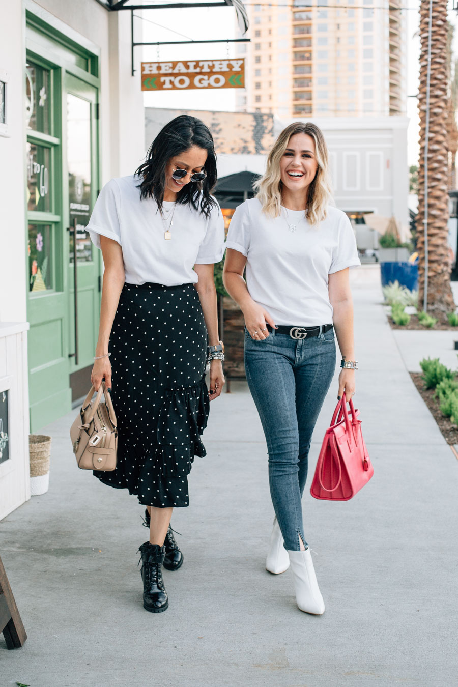 Lilly Beltran in a polka dot skirt and white tee shirt