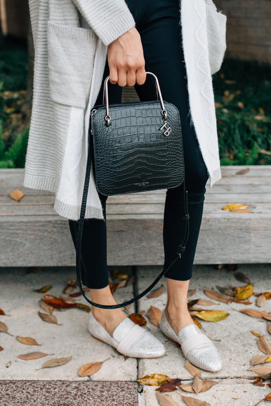 Henri Bendel croc embossed bag