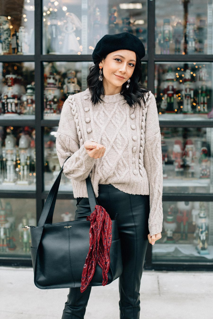 Cable knit sweater, black beret and Bauble Bar earrings