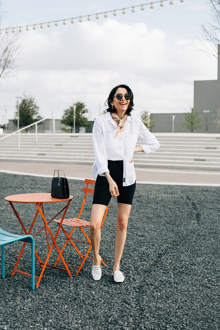 A casual and classic way to style black biker shorts
