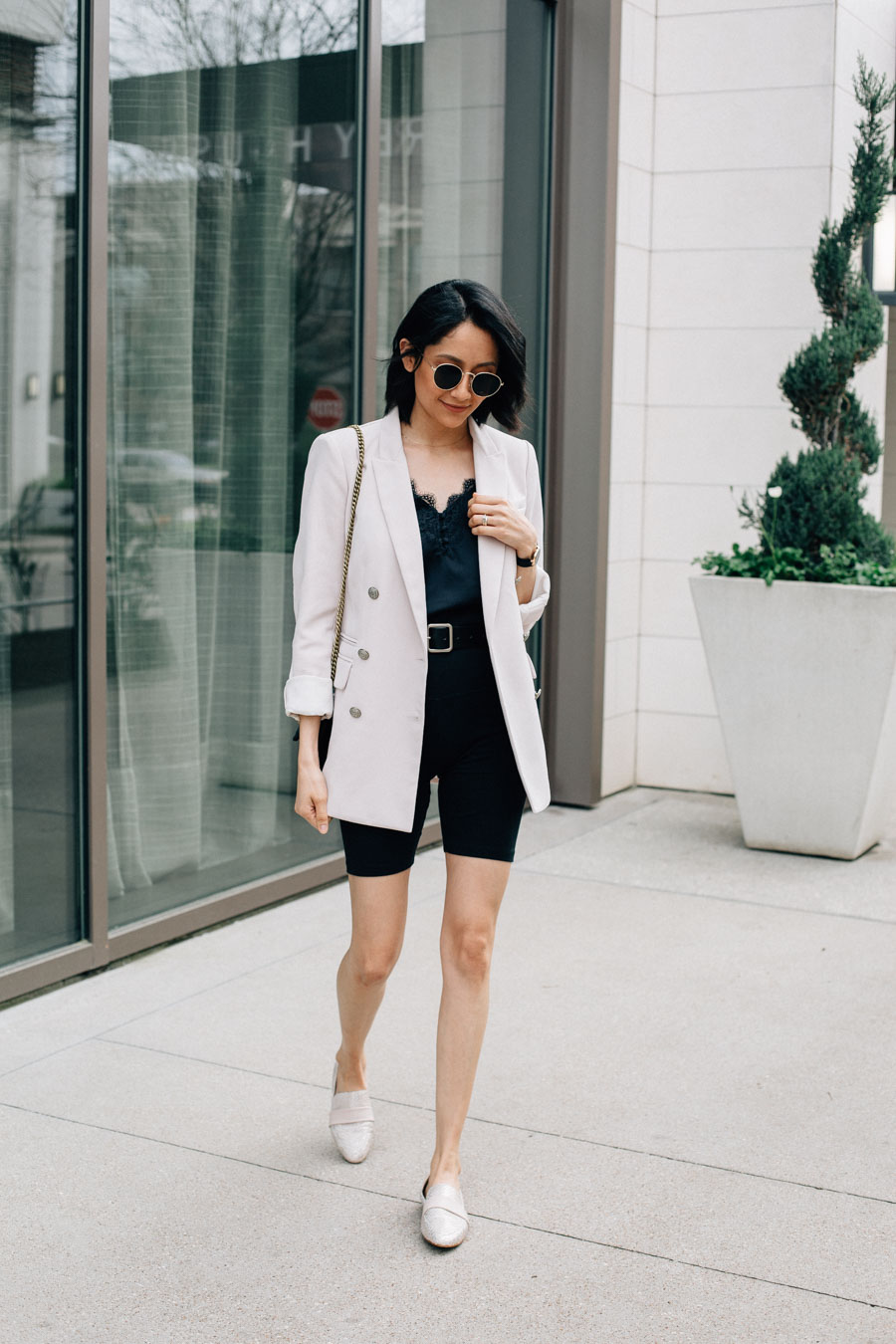 How to style biker shorts with a blazer