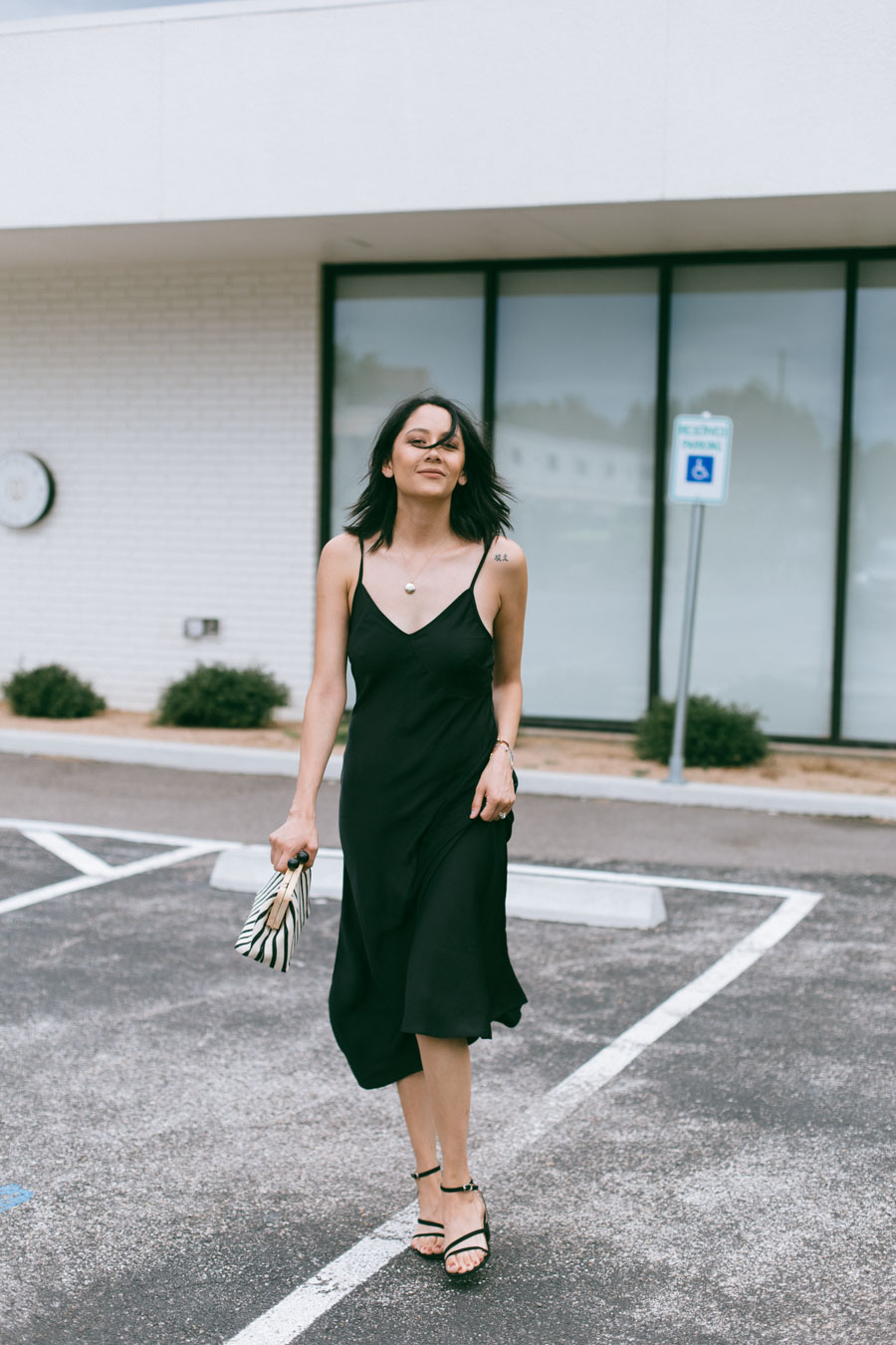 Lilly Beltran shares how to wear a black slip dress for date night