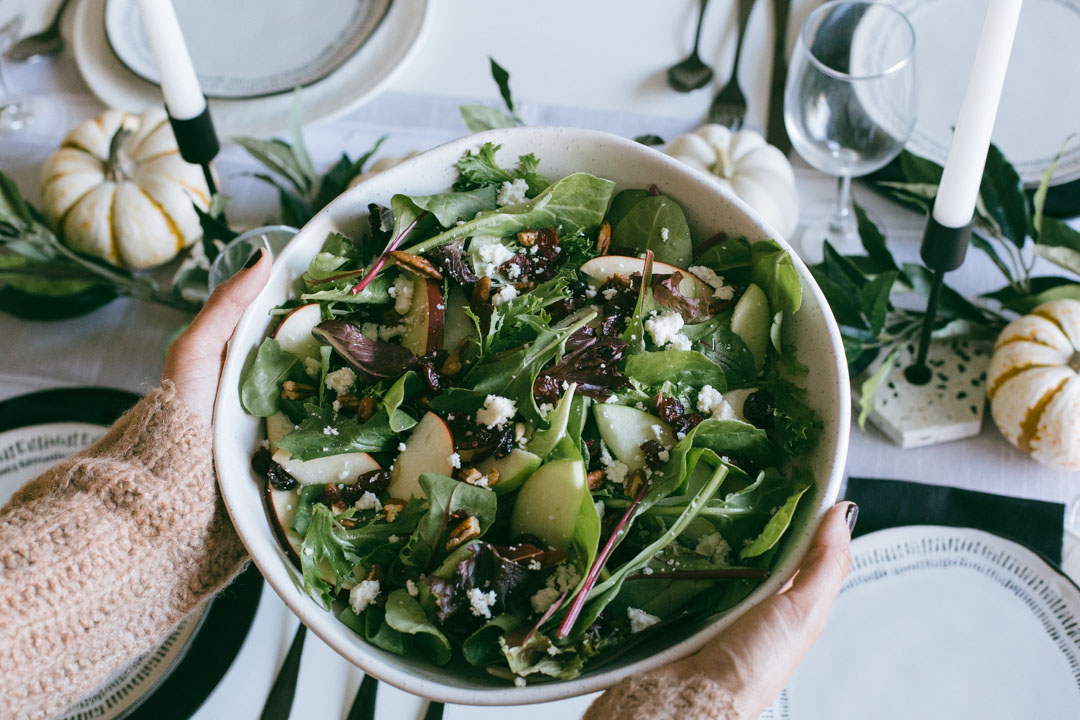 Plant based Thanksgiving recipe: Apple cranberry pecan salad.