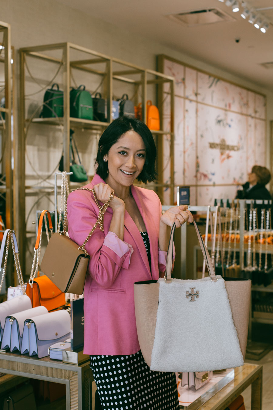 Fashion blogger Lilly Beltran visiting the Tory Burch Outlet store in Houston.